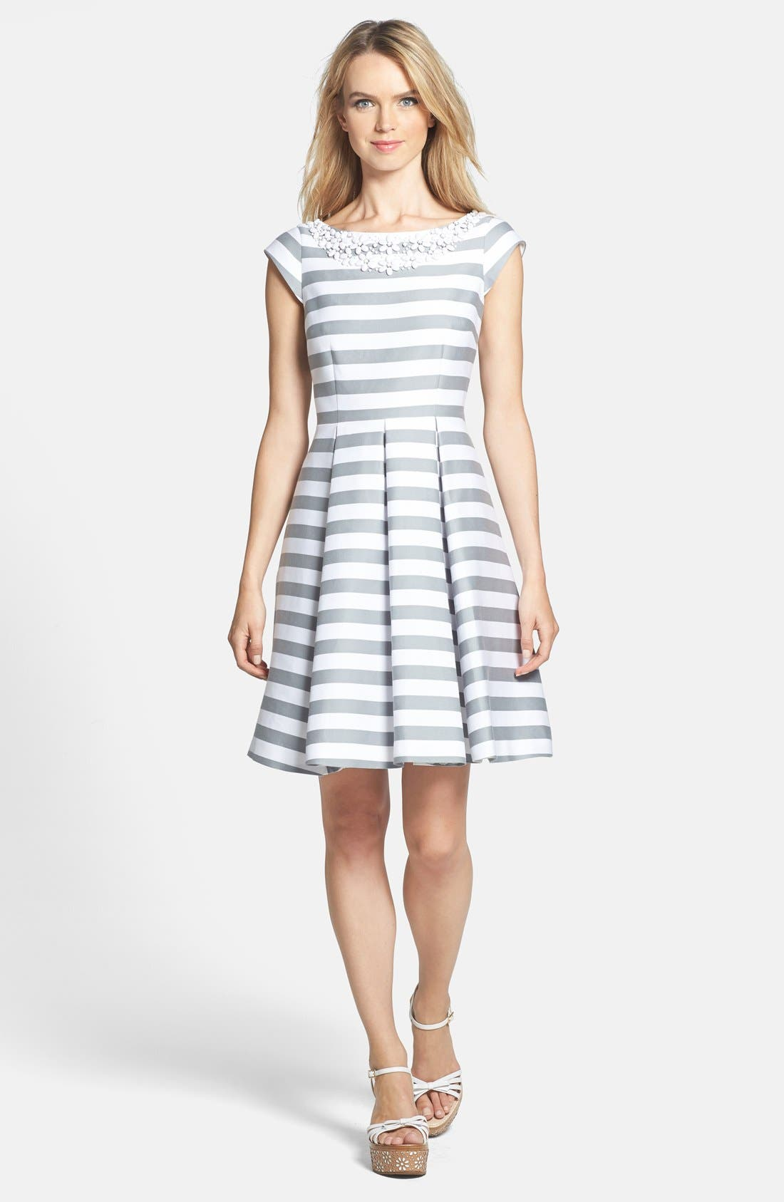 Main Image - kate spade new york 'mariella' beaded cotton blend fit & flare dress