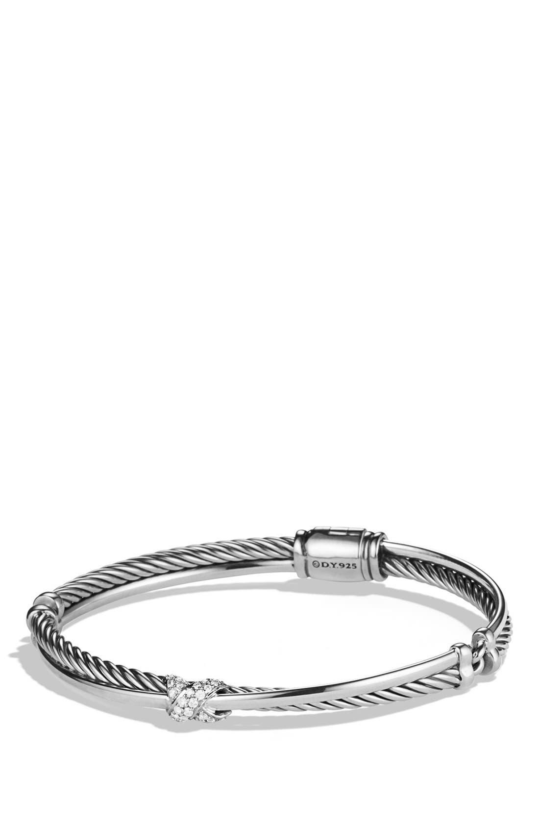 Main Image - David Yurman Petite 'X' Crossover Bracelet with Diamonds