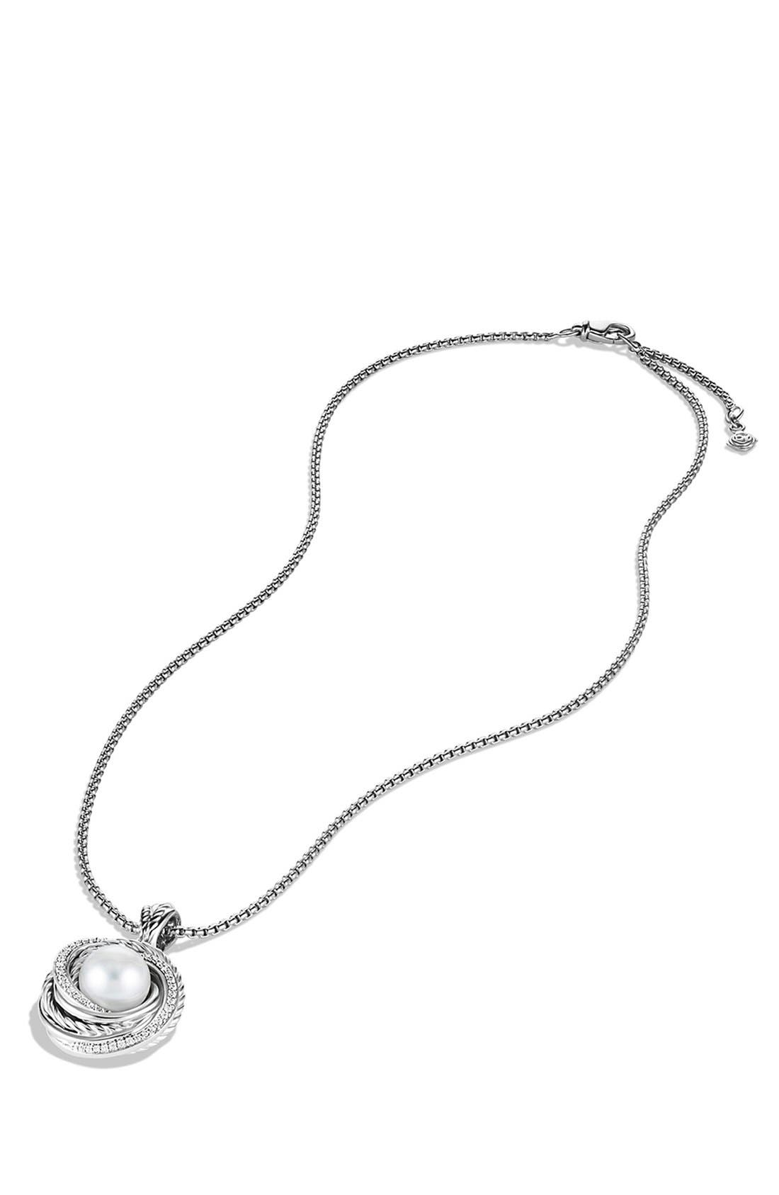 Alternate Image 2  - David Yurman 'Pearl Crossover' Pendant with Diamonds on Chain