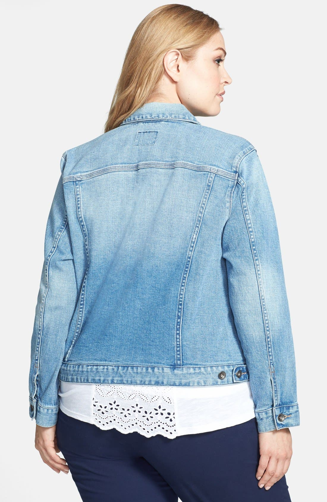 Alternate Image 2  - Lucky Brand 'Dixie' Denim Jacket (Plus Size)