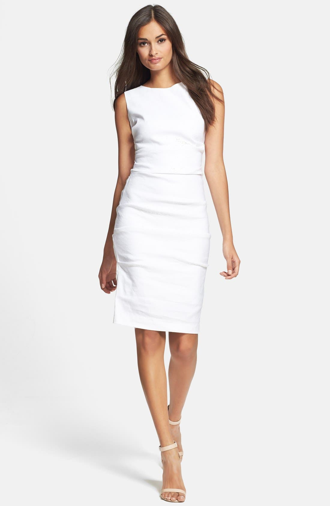 Alternate Image 1 Selected - Nicole Miller Stretch Linen Sheath Dress