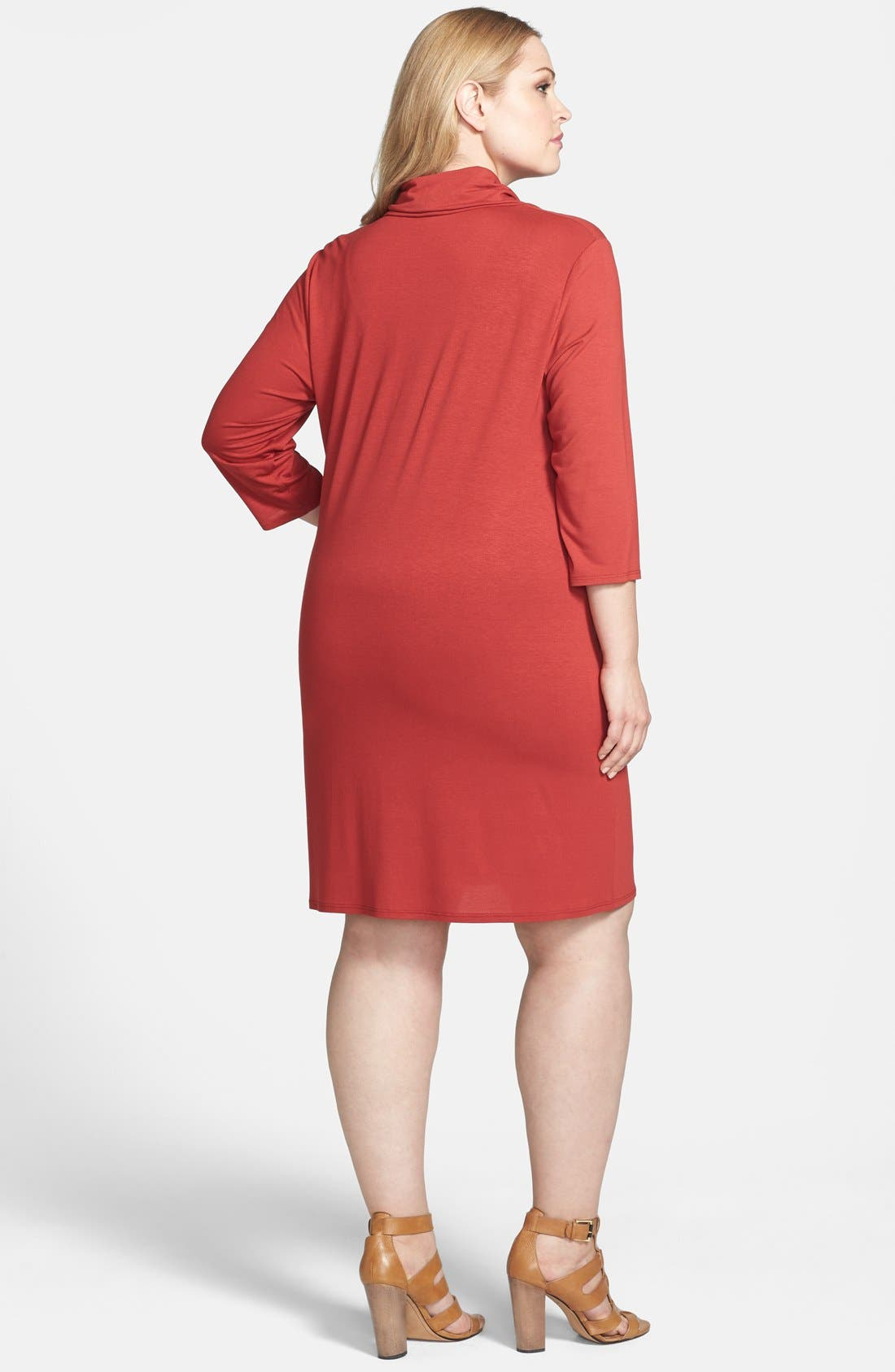 Alternate Image 2  - Eileen Fisher Cowl Neck Shift Dress (Plus Size)