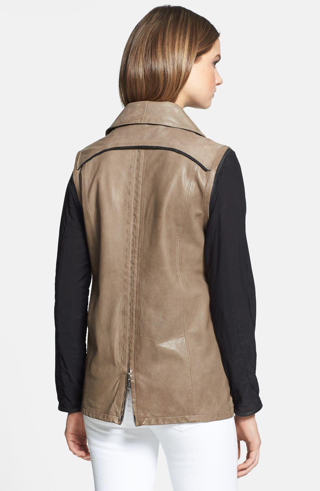 Alternate Image 2  - LaMarque 'Esther' Leather Jacket with Removable Mesh Sleeves