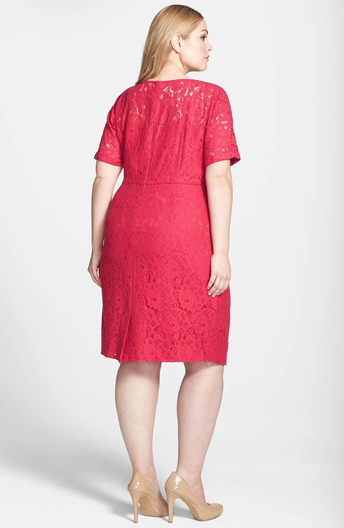 Alternate Image 2  - Adrianna Papell Lace Sheath Dress (Plus Size)