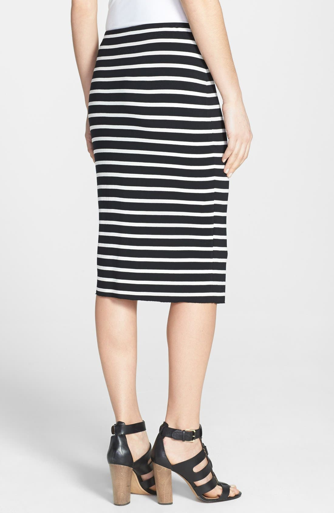 Alternate Image 2  - Vince Camuto 'Retro Stripes' Midi Tube Skirt (Petite) (2 for $69)