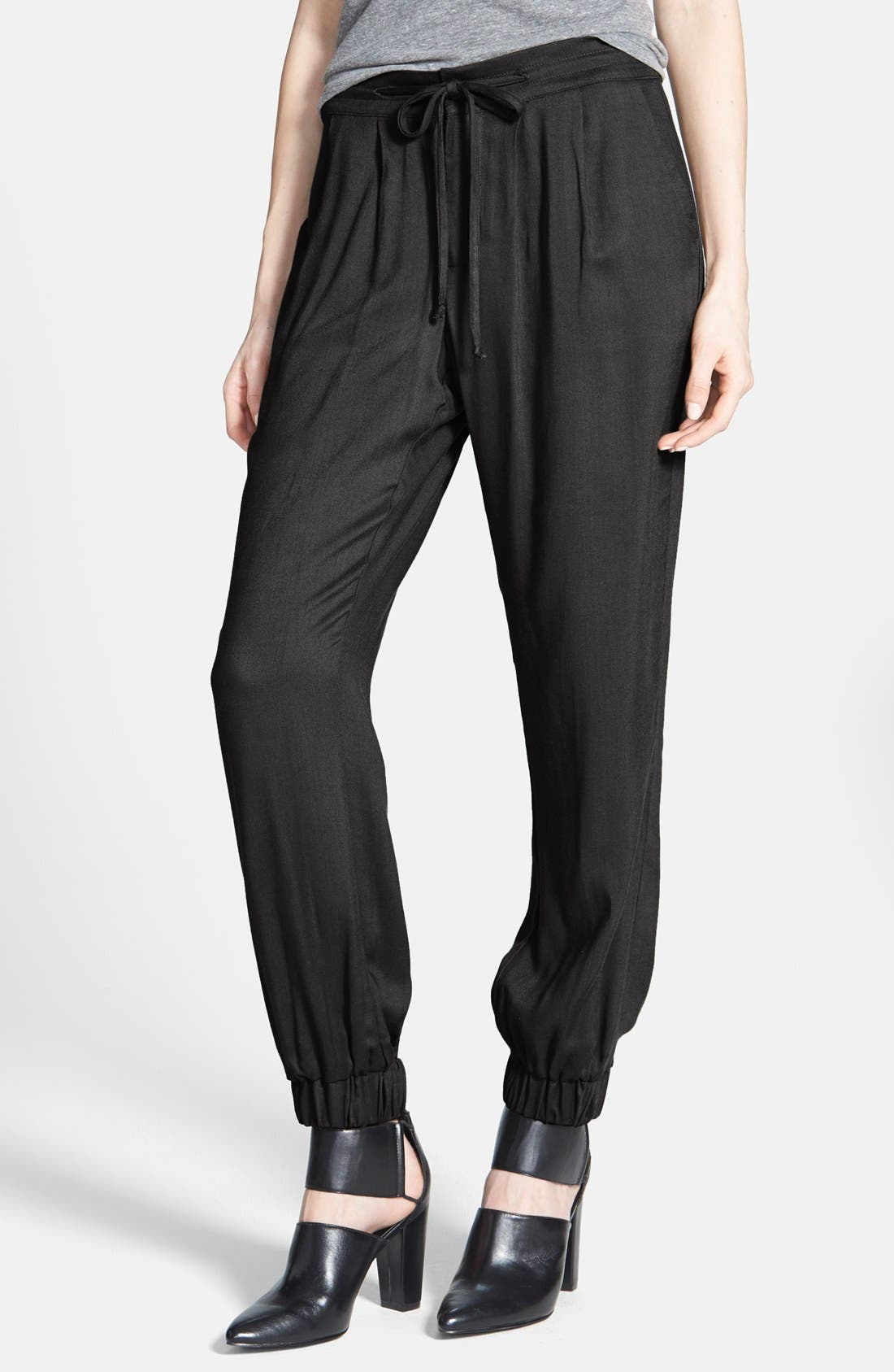 Alternate Image 1 Selected - Lily White Drawstring Soft Pants (Juniors) (Online Only)