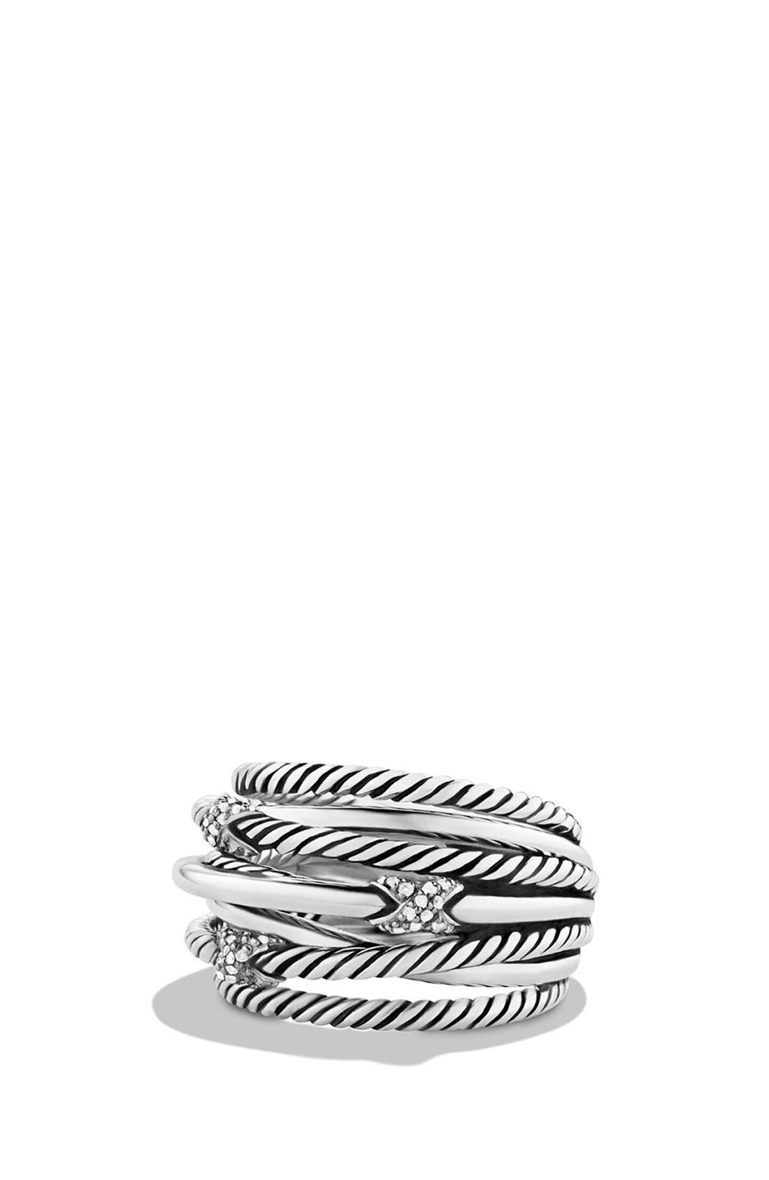 Main Image - David Yurman 'Three X Crossover' Ring with Diamonds