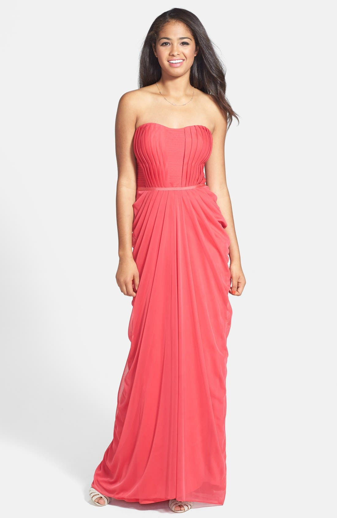 Main Image - JS Boutique Pleated & Draped Jersey Chiffon Strapless Gown