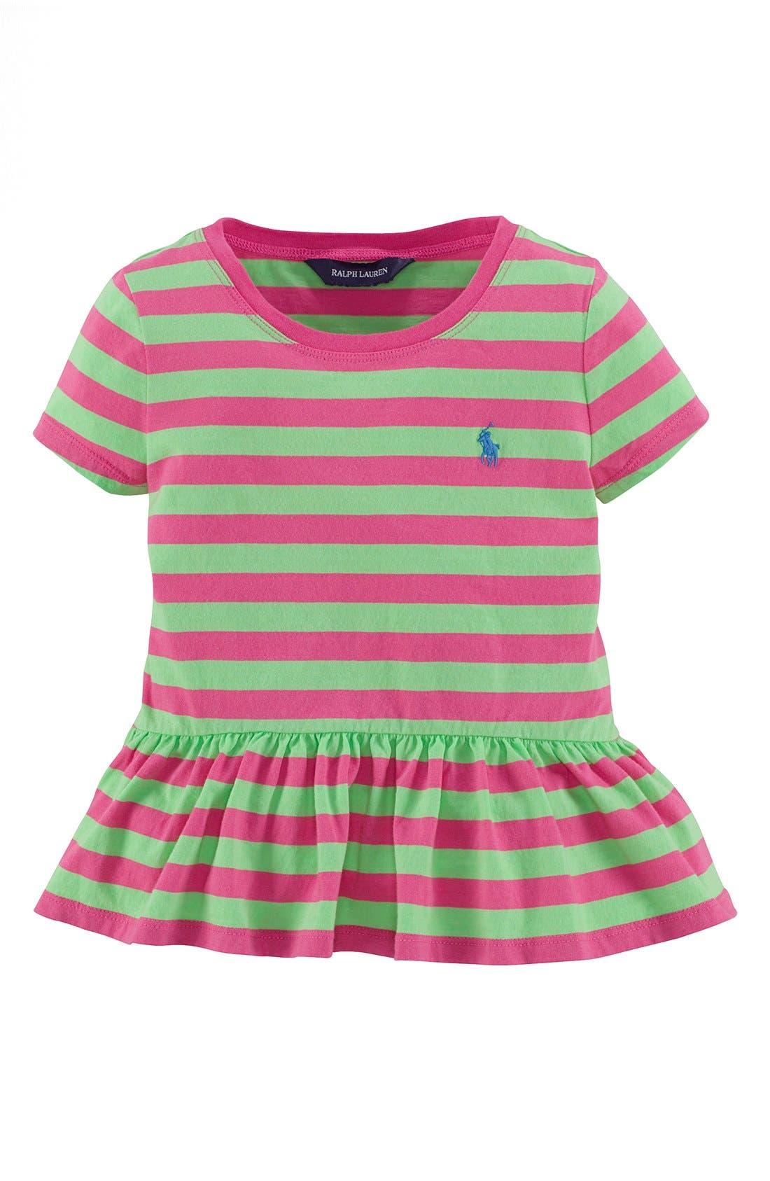 Alternate Image 1 Selected - Ralph Lauren Stripe Peplum Tee (Toddler Girls)