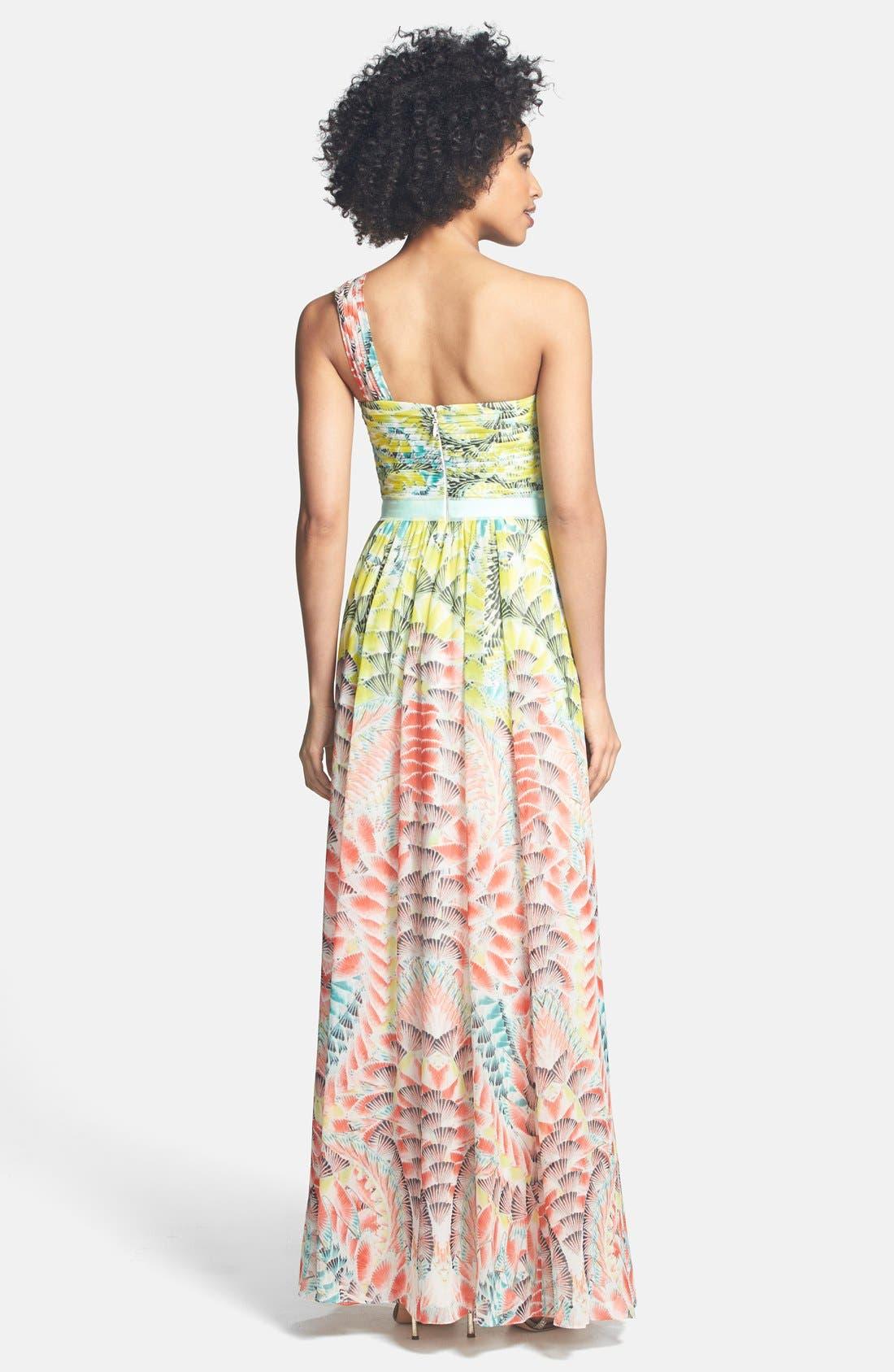 Alternate Image 2  - BCBGMAXAZRIA Print One-Shoulder Silk Chiffon Maxi Dress
