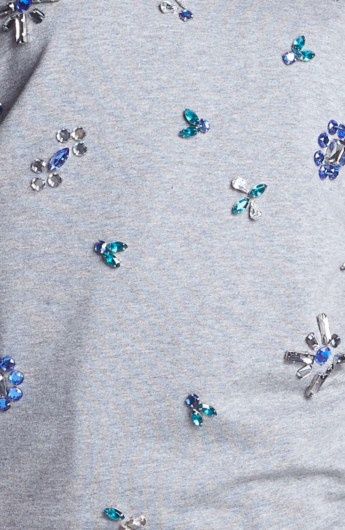 Alternate Image 3  - Two by Vince Camuto Jeweled Baseball Sweatshirt (Petite)