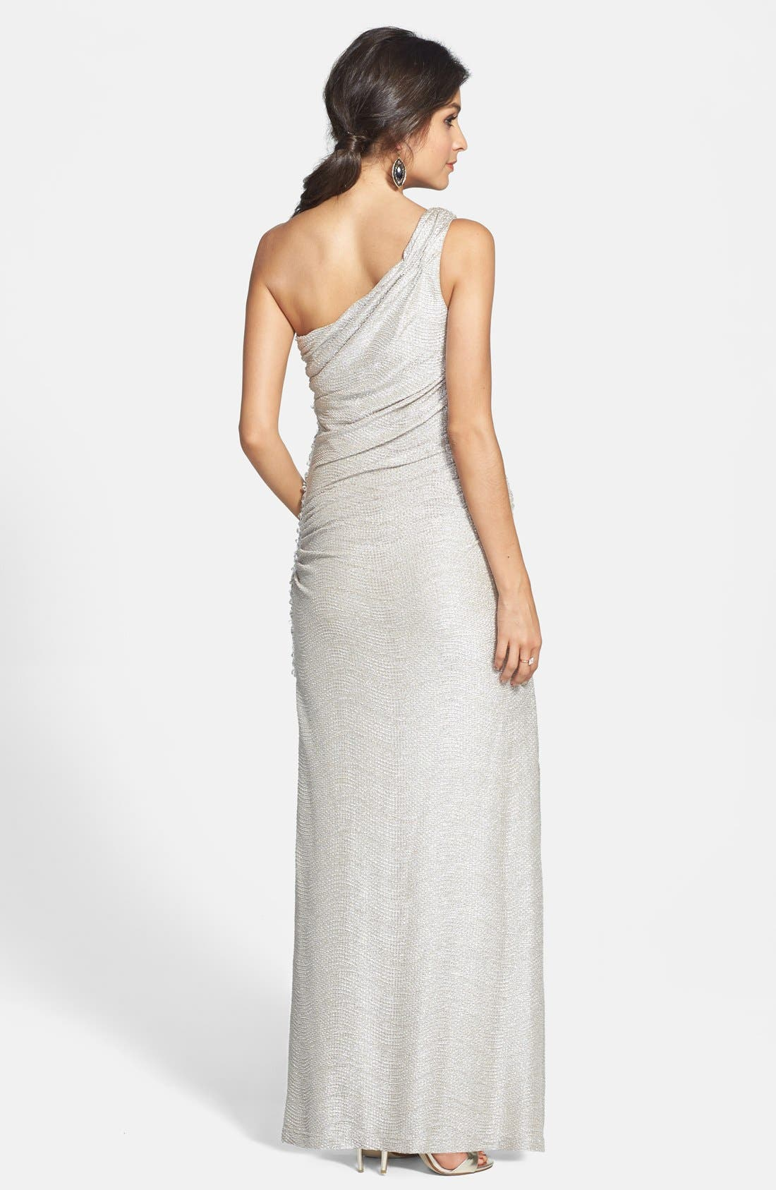 Alternate Image 2  - Hailey by Adrianna Papell Embellished Textured Metallic One Shoulder Gown