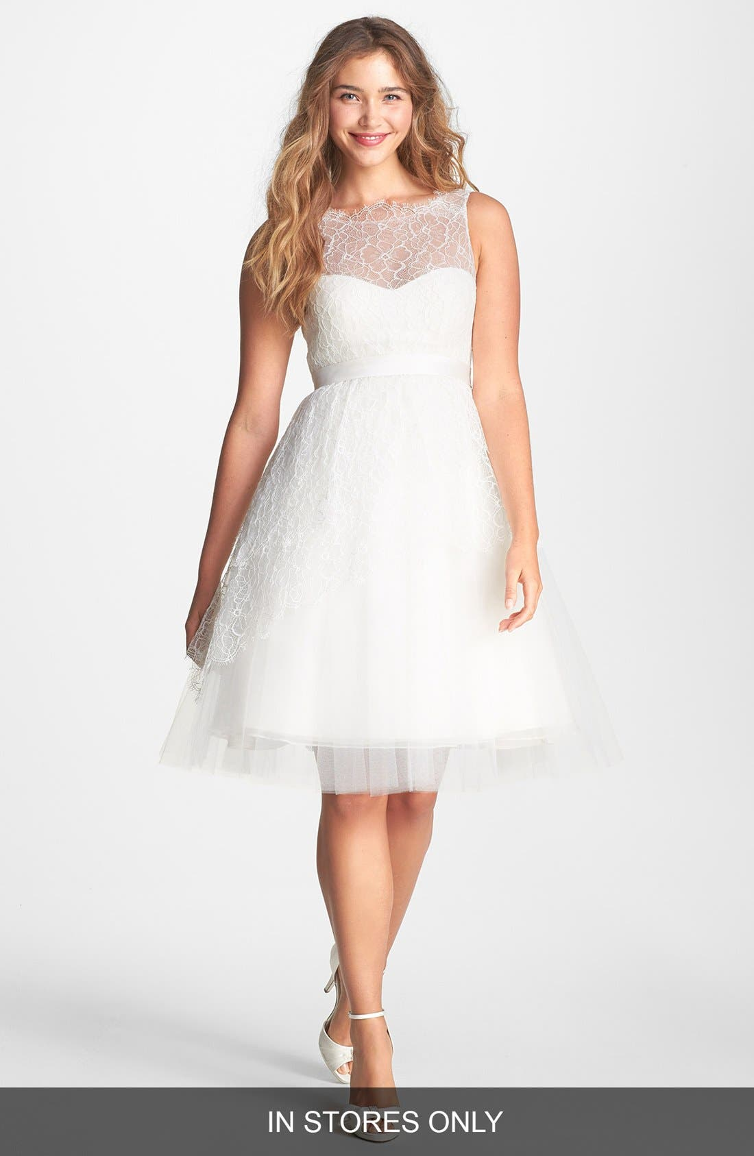 Main Image - Jenny Yoo 'Bella' Chantilly Lace Fit & Flare Dress (In Stores Only)