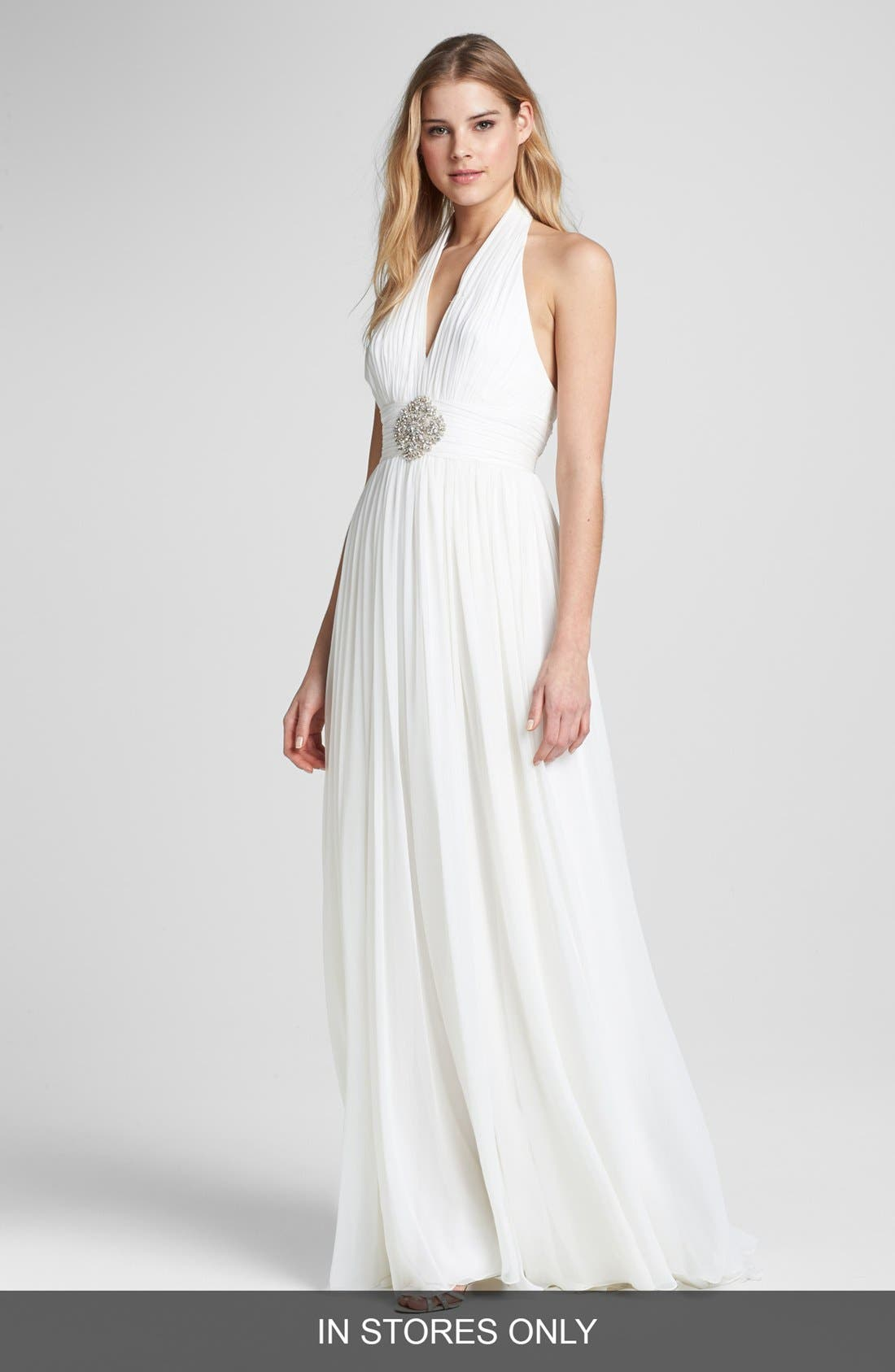 Main Image - Roses by Reem Acra 'Gardenia' Embellished Silk Dress (In Stores Only)