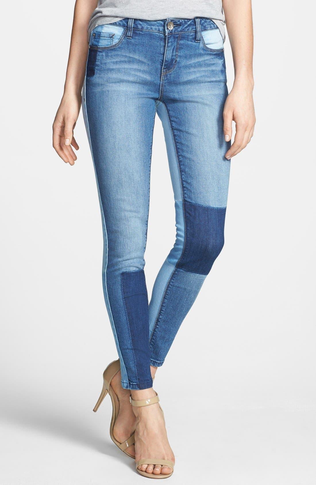 Main Image - kensie 'Ankle Biter' Colorblock Skinny Jeans (Vintage Twister)