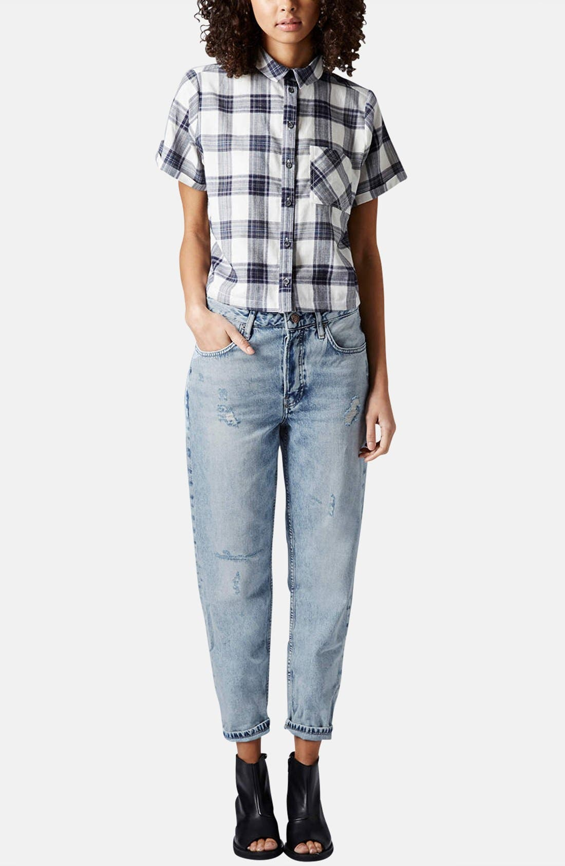 Alternate Image 5  - Topshop 'Emily' Check Print Cotton Shirt