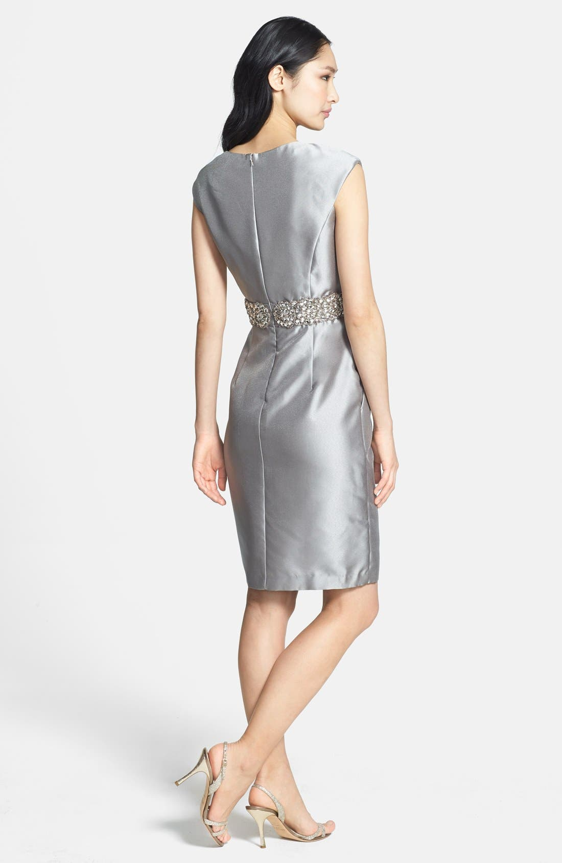 Alternate Image 2  - Alex Evenings Embellished Waist Taffeta Sheath Dress