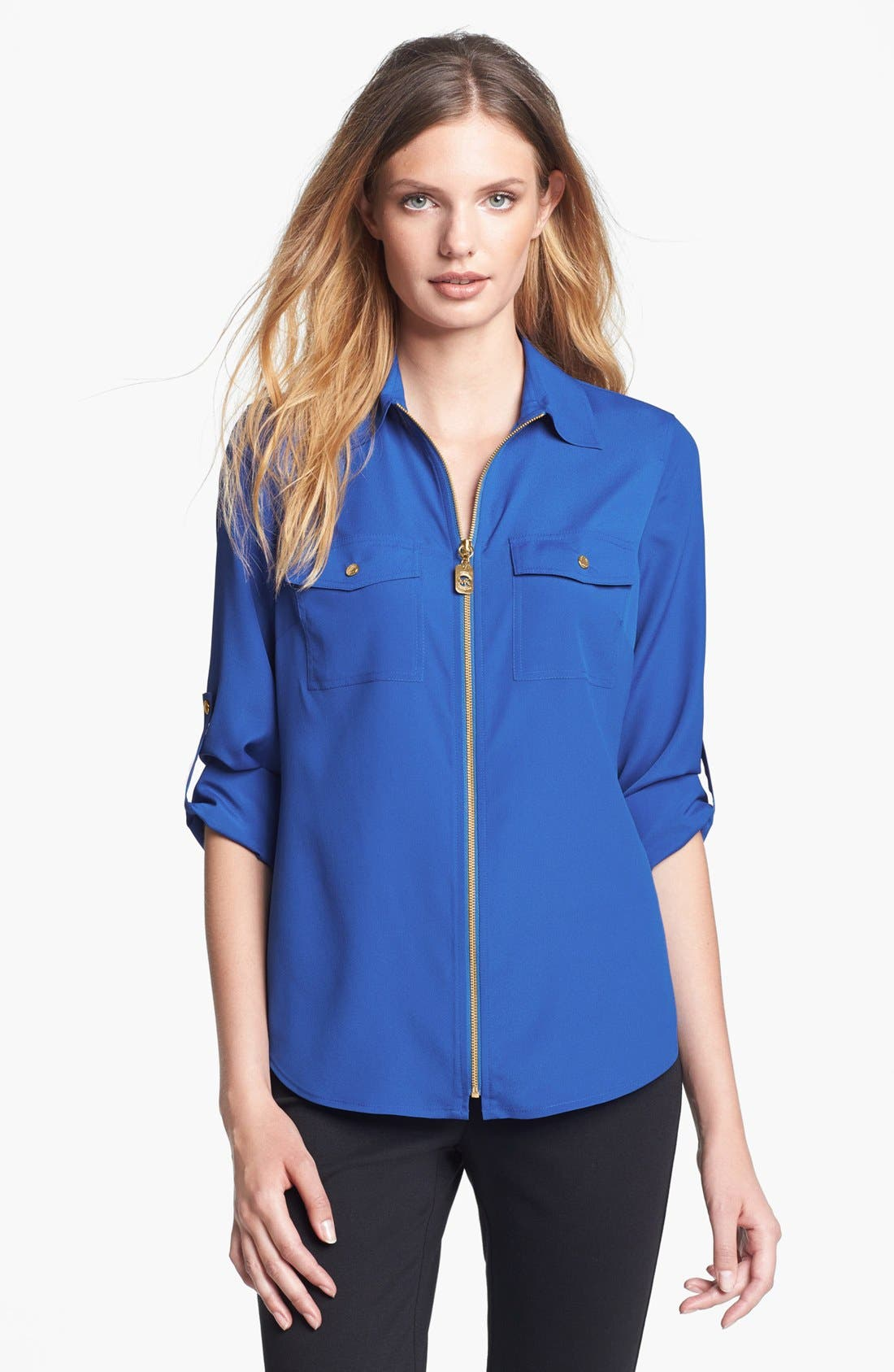 Alternate Image 1 Selected - MICHAEL Michael Kors Zip Safari Shirt (Petite)