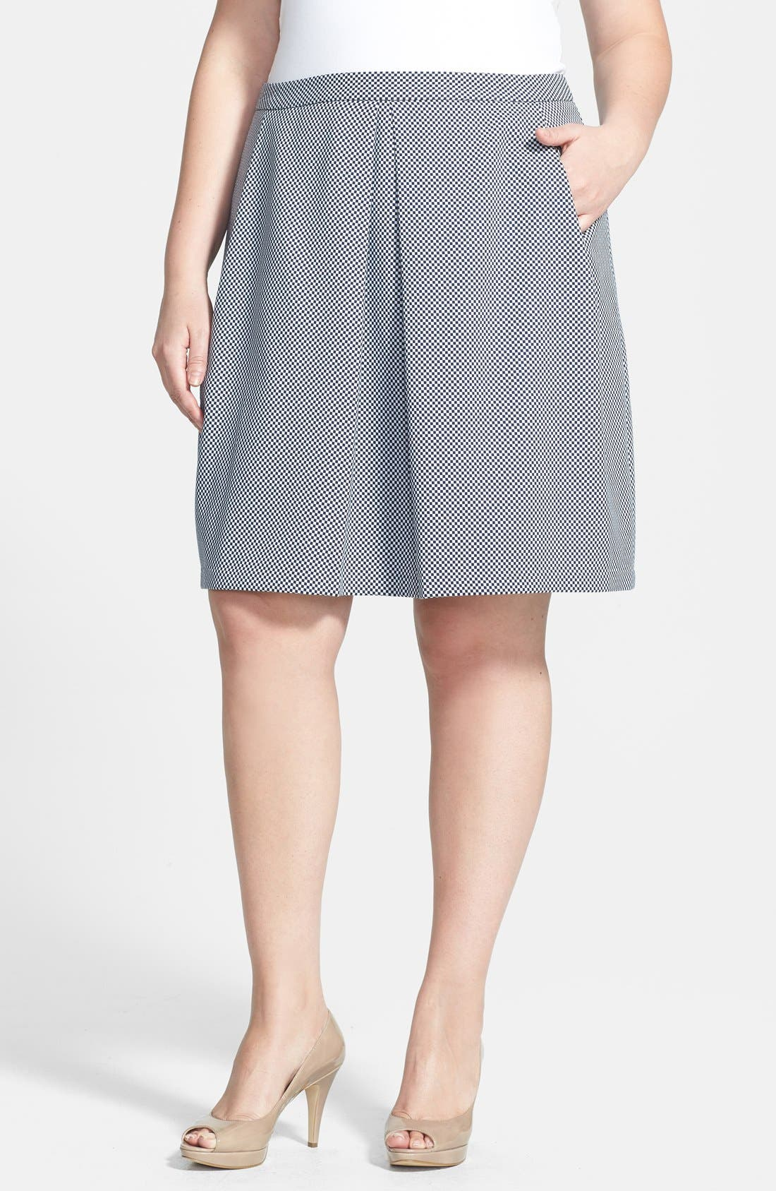 Alternate Image 1 Selected - Anne Klein Check Print A-Line Skirt (Plus Size)