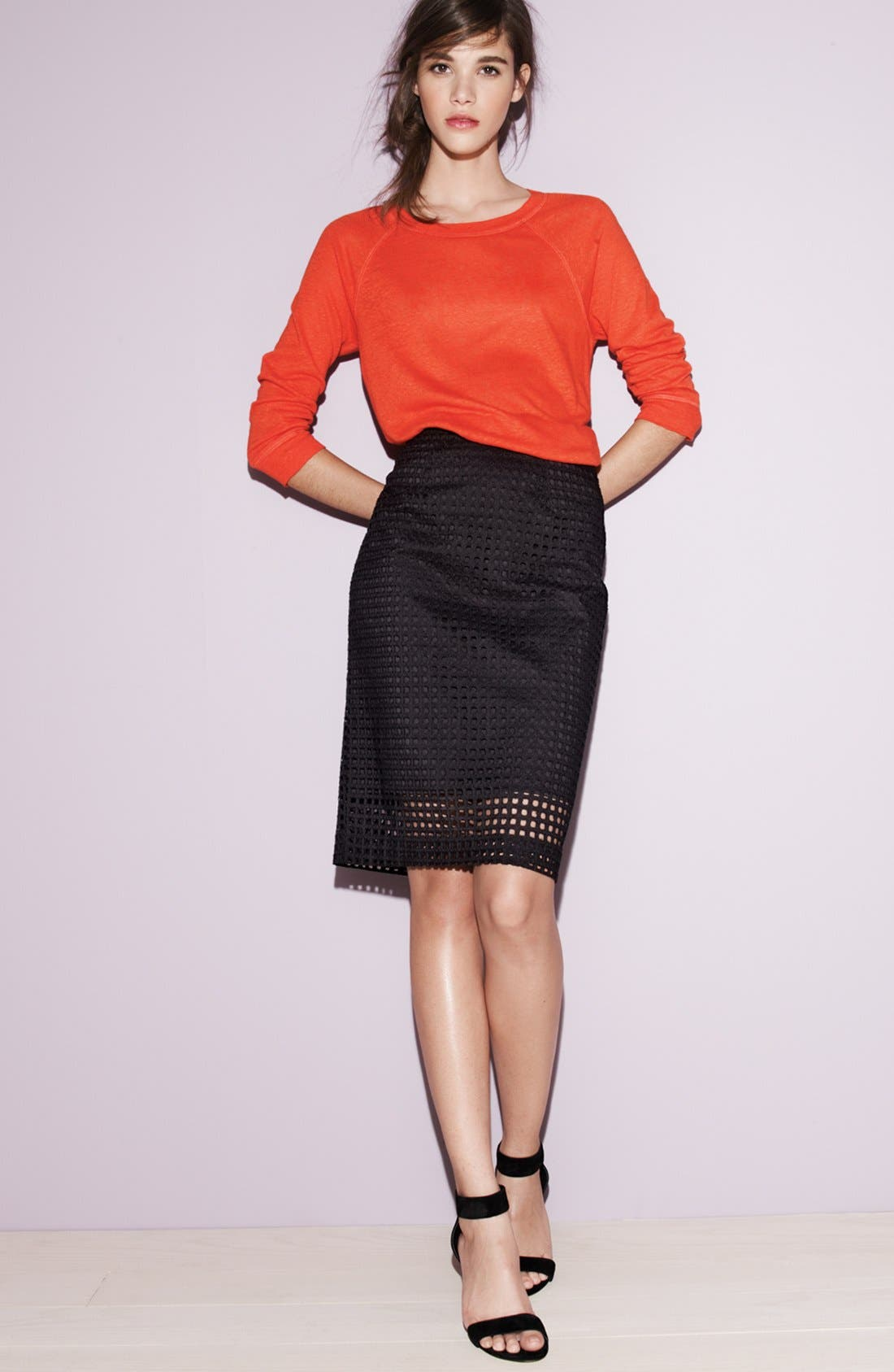 Alternate Image 4  - Halogen® 'Prism' Eyelet Cotton Pencil Skirt (Plus Size)