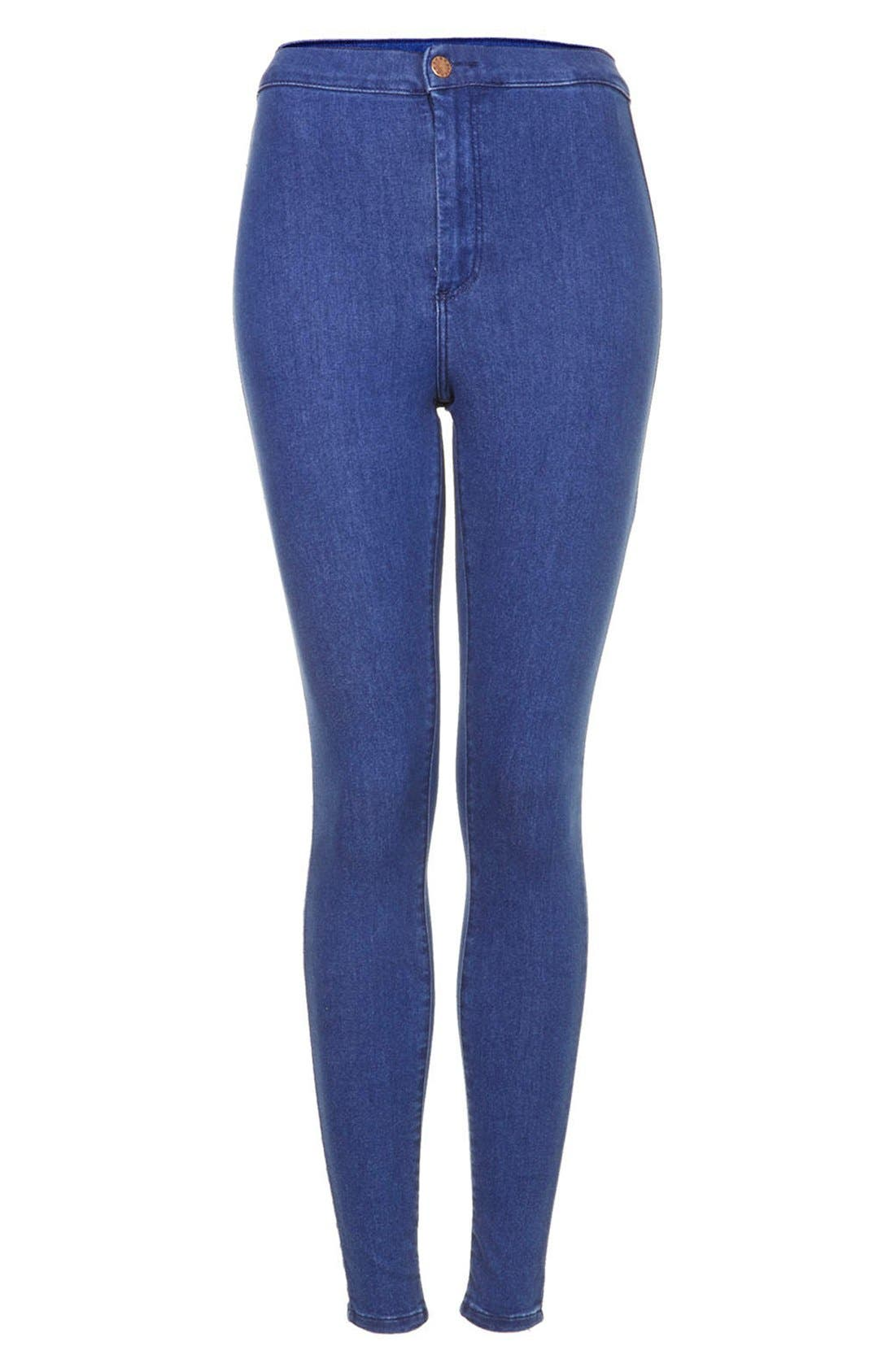 Alternate Image 3  - Topshop Moto 'Joni' High Rise Skinny Jeans (Regular, Short & Long) (Blue)
