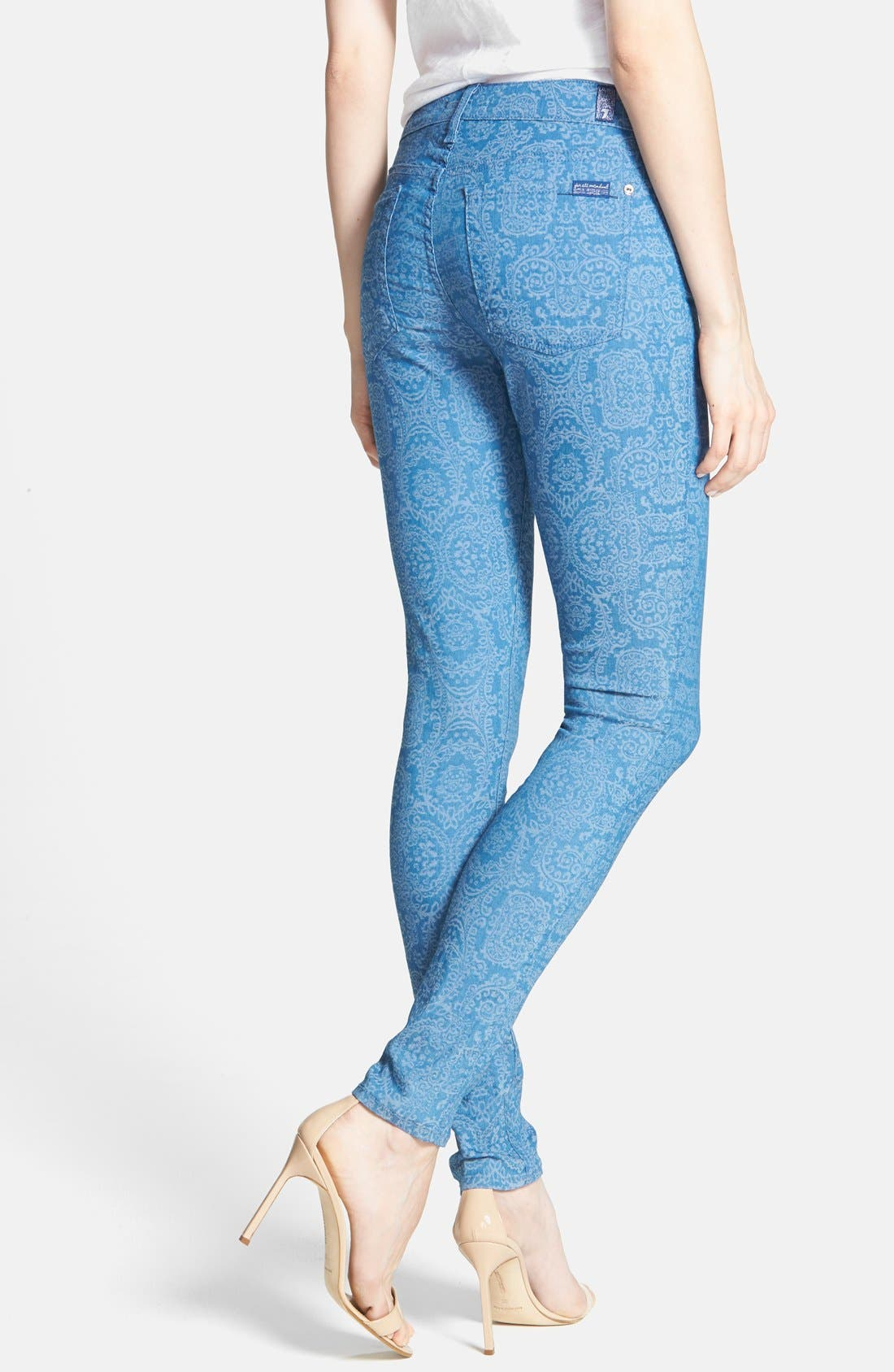 Alternate Image 2  - 7 For All Mankind® 'The Skinny' Print Jeans (Moroccan Blue)