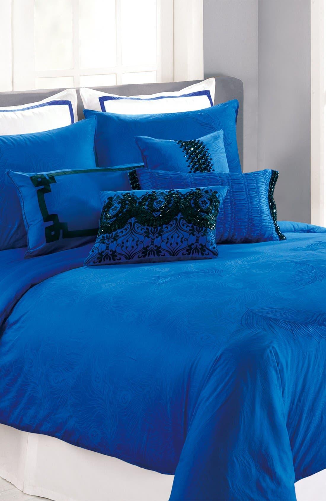 Alternate Image 1 Selected - Nanette Lepore Villa 'Peacock' Cobalt Duvet Cover & Shams