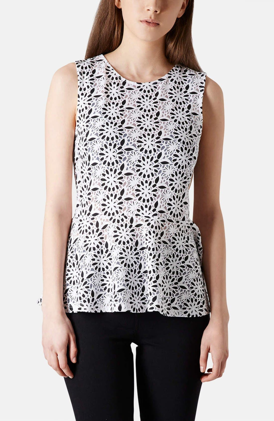 Alternate Image 1 Selected - Topshop Floral Burnout Peplum Top