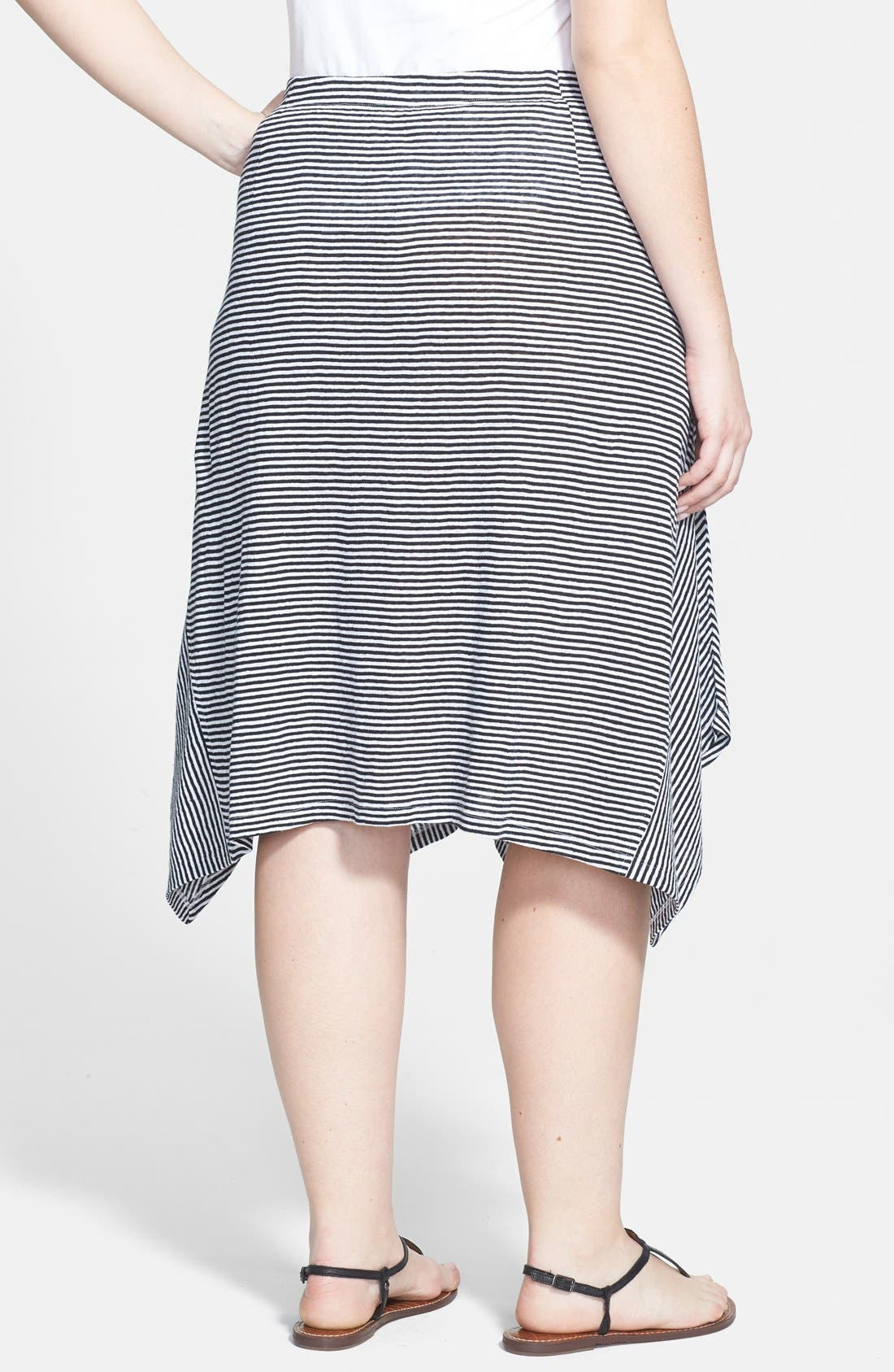 Alternate Image 2  - Eileen Fisher Stripe Organic Linen Knit Skirt (Plus Size)