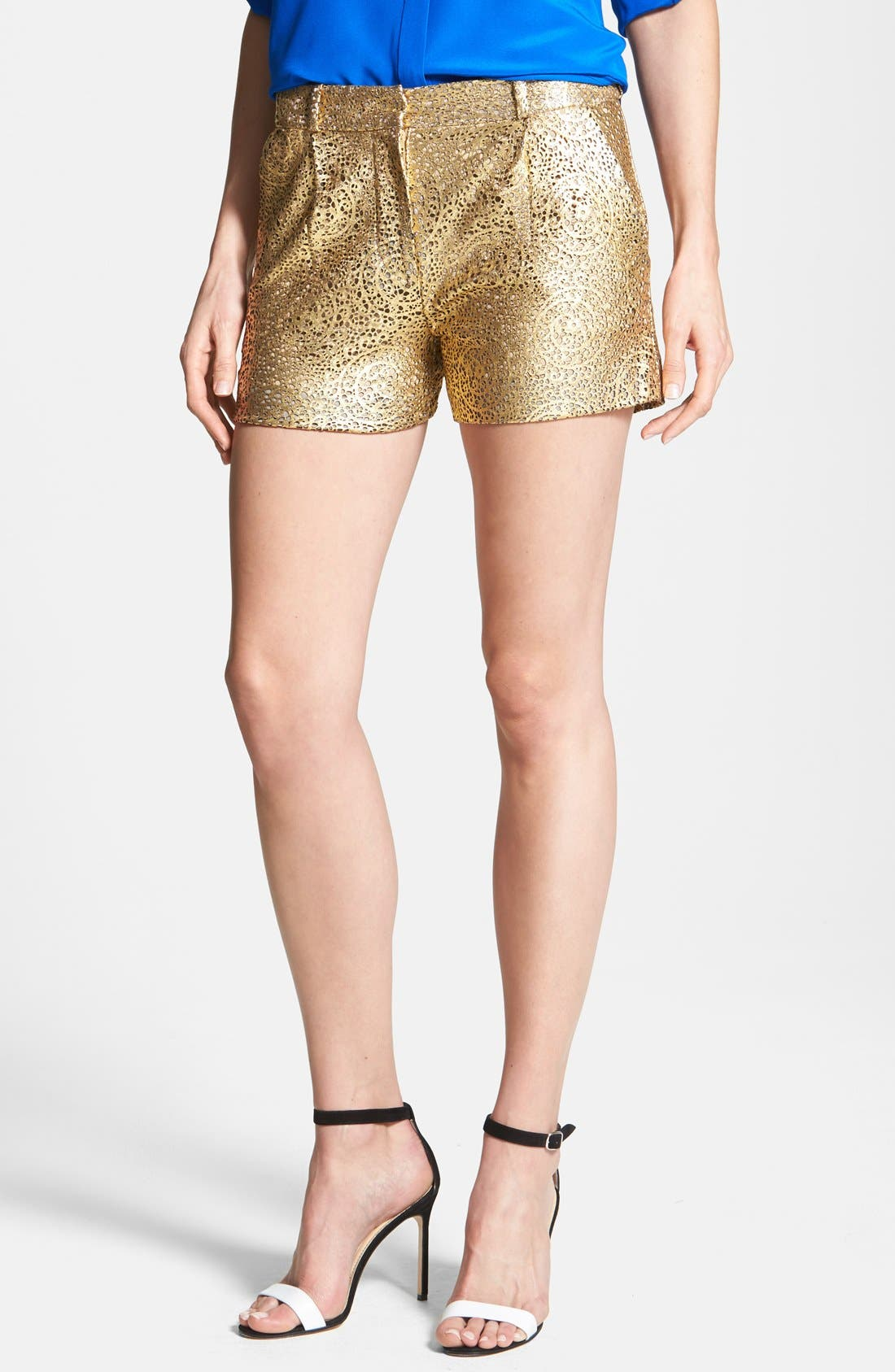 Alternate Image 1 Selected - Diane von Furstenberg 'Naples' Laser Cut Leather Shorts