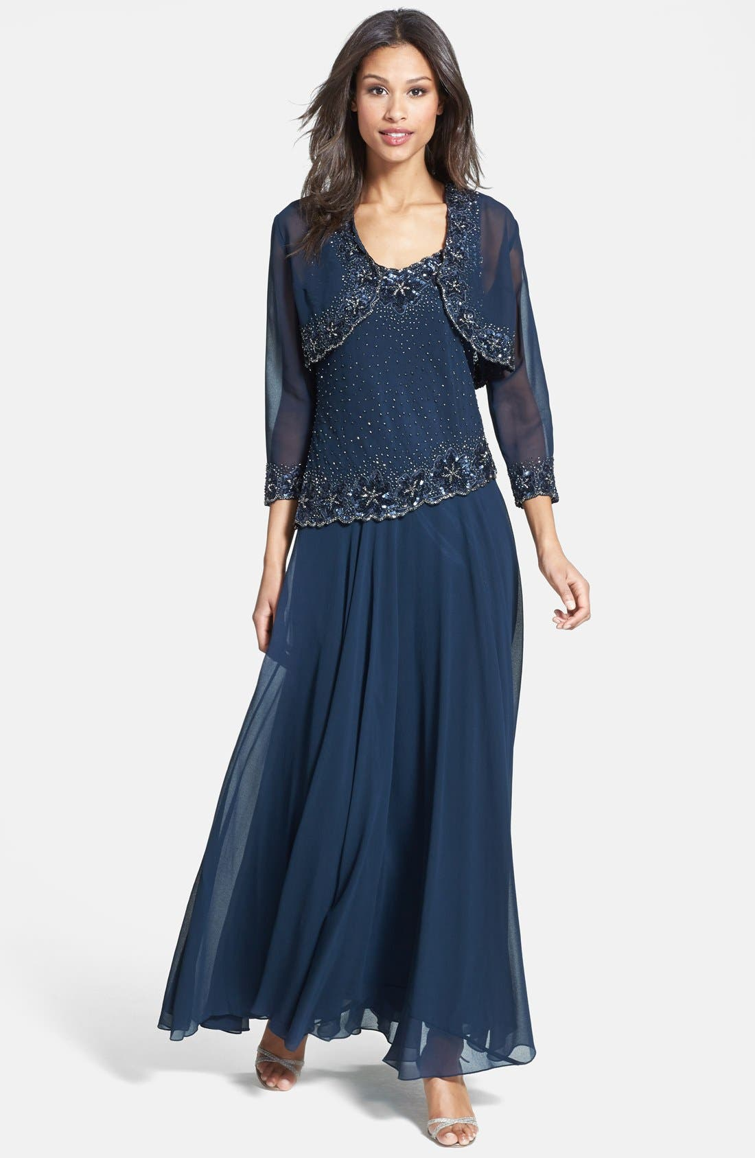 Main Image - J Kara Embellished Chiffon Dress & Bolero