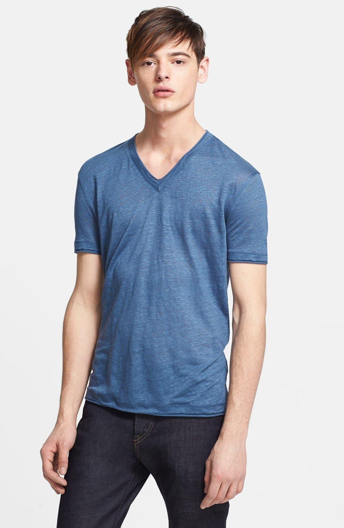 Alternate Image 1 Selected - John Varvatos Collection Linen V-Neck T-Shirt