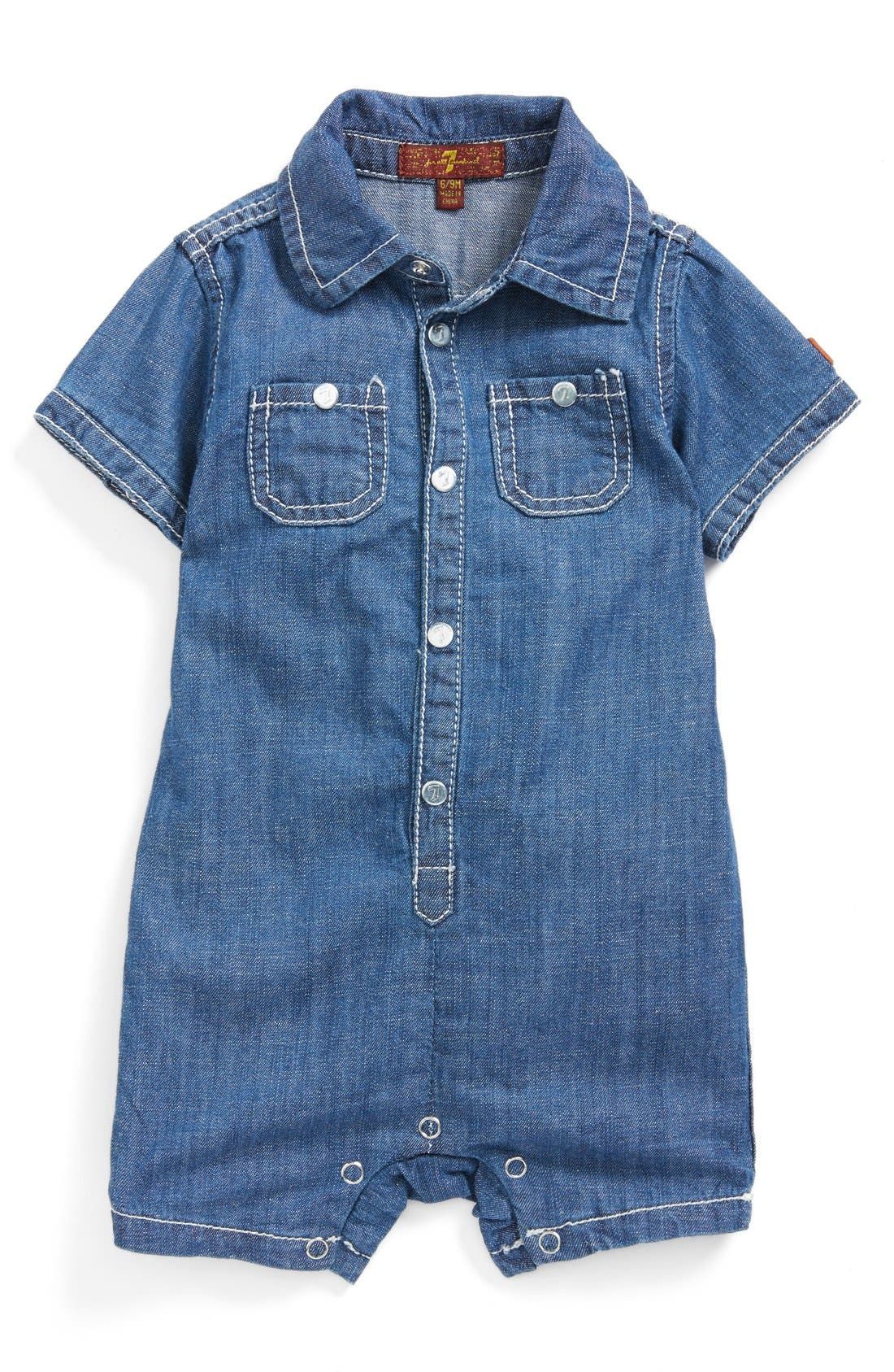 Main Image - 7 For All Mankind® Chambray Romper (Baby Boys)