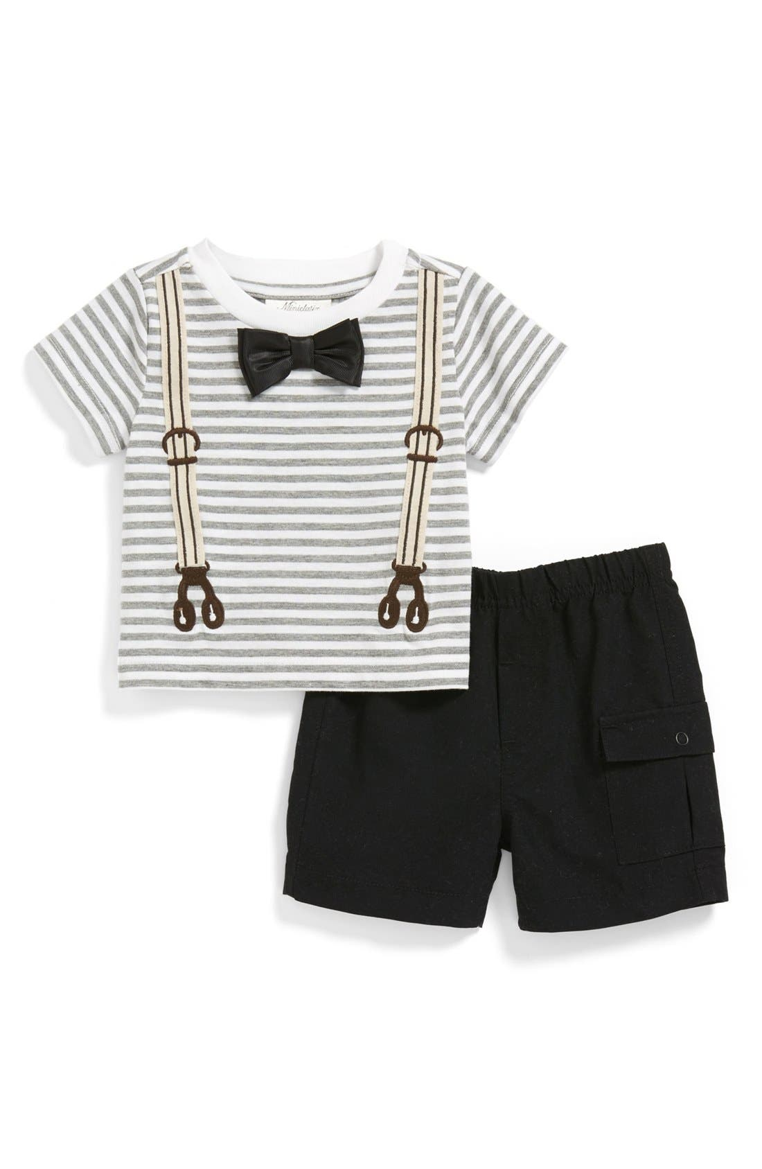 Alternate Image 1 Selected - Miniclasix 'Bow Tie' T-Shirt & Shorts (Baby Boys)