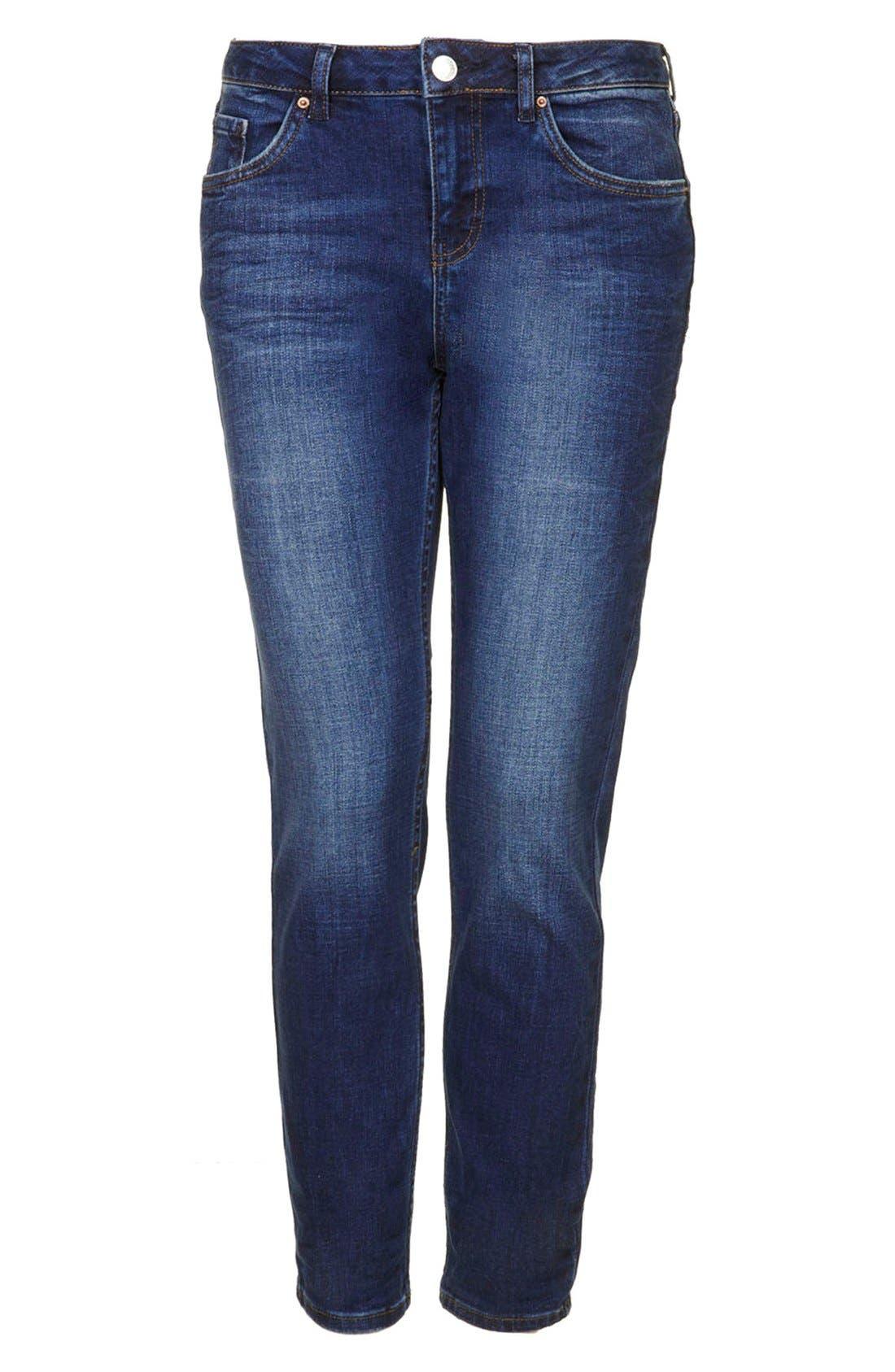 Alternate Image 3  - Topshop Moto Relaxed Straight Leg Jeans (Blue)