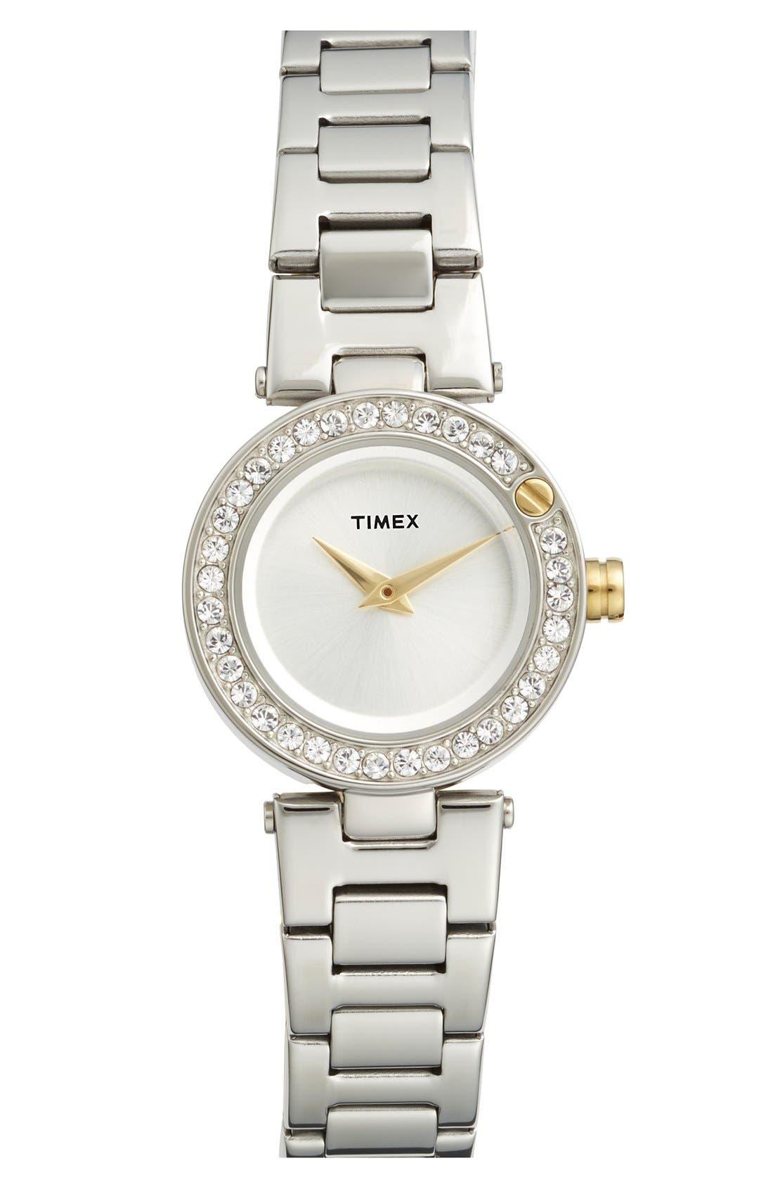 Alternate Image 1 Selected - Timex® 'Starlight' Crystal Bezel Bracelet Watch, 24mm