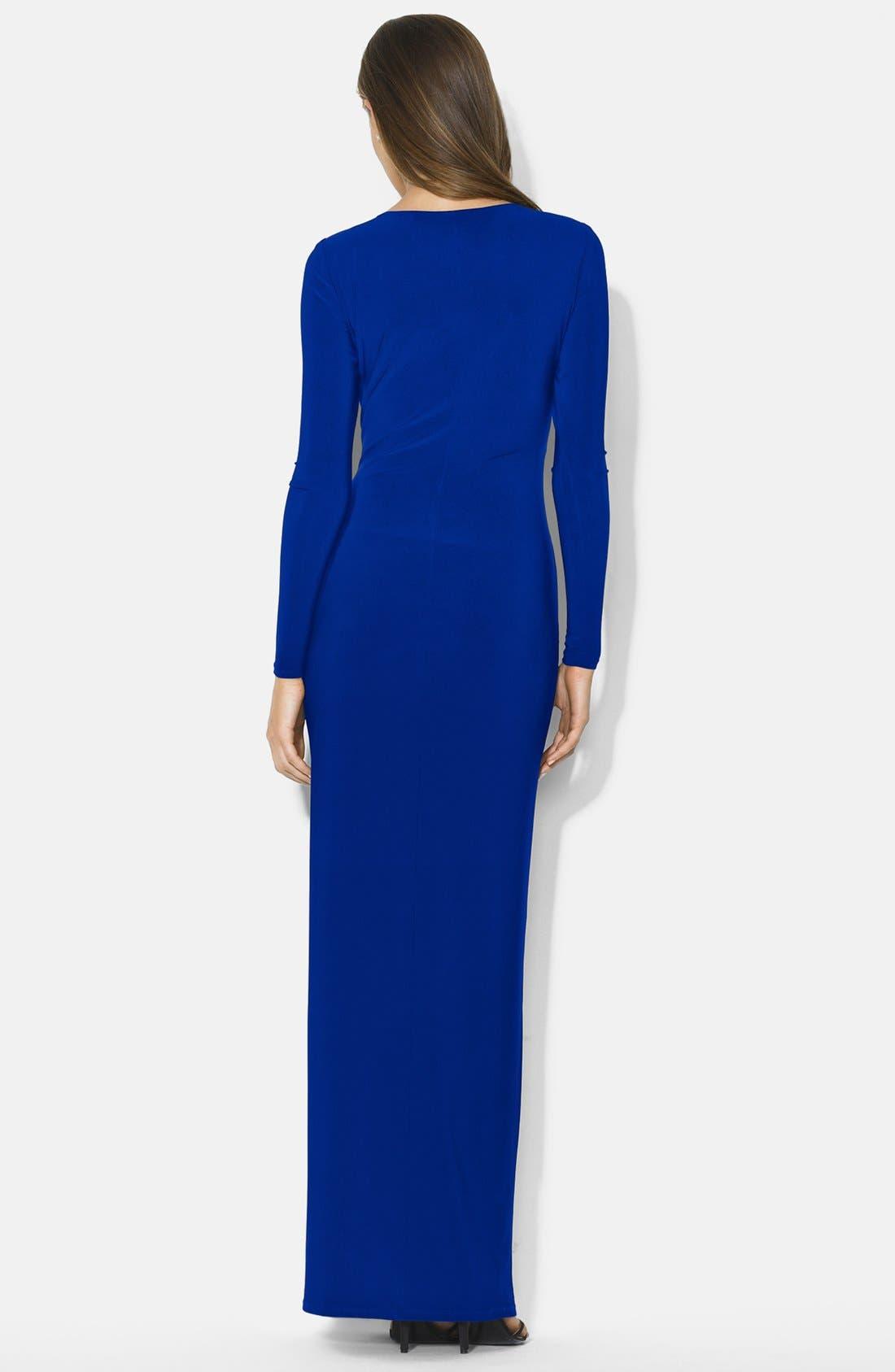 Alternate Image 2  - Lauren Ralph Lauren Embellished Side Drape Jersey Gown