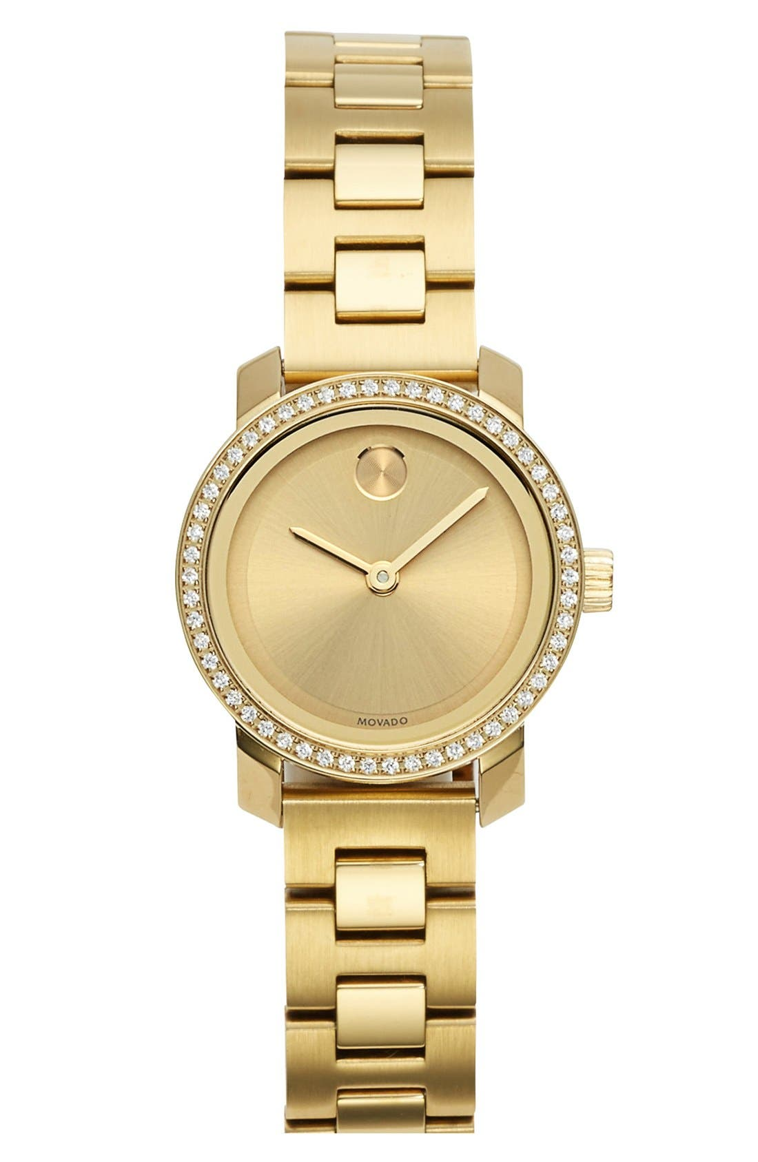 Main Image - Movado 'Bold' Diamond Bezel Bracelet Watch, 25mm