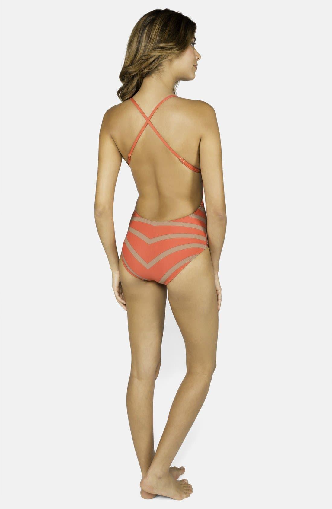 Alternate Image 2  - DKNY 'Empire Stripes' V-Neck Maillot
