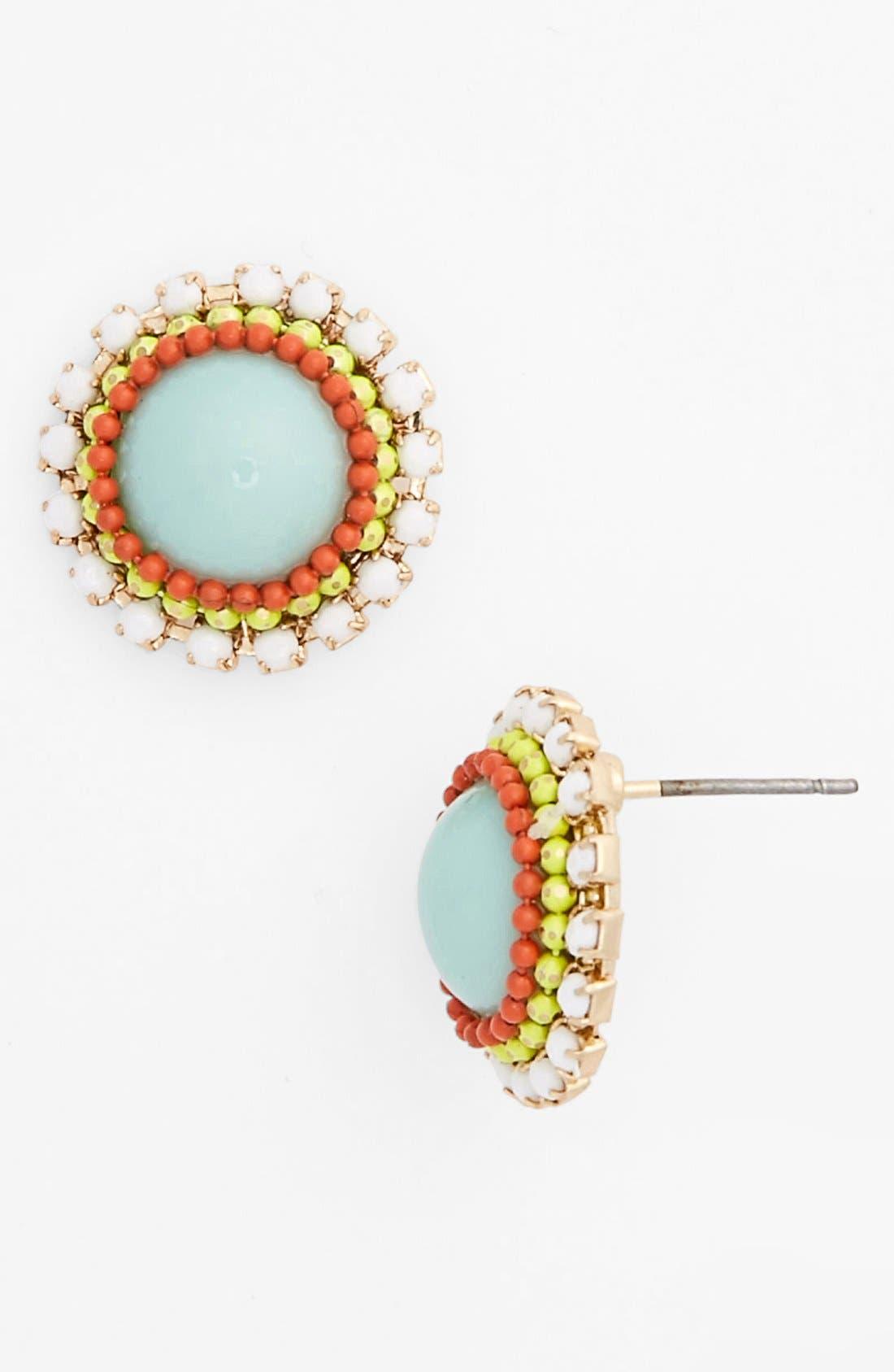 Main Image - Stone Bead Button Earrings (Juniors)