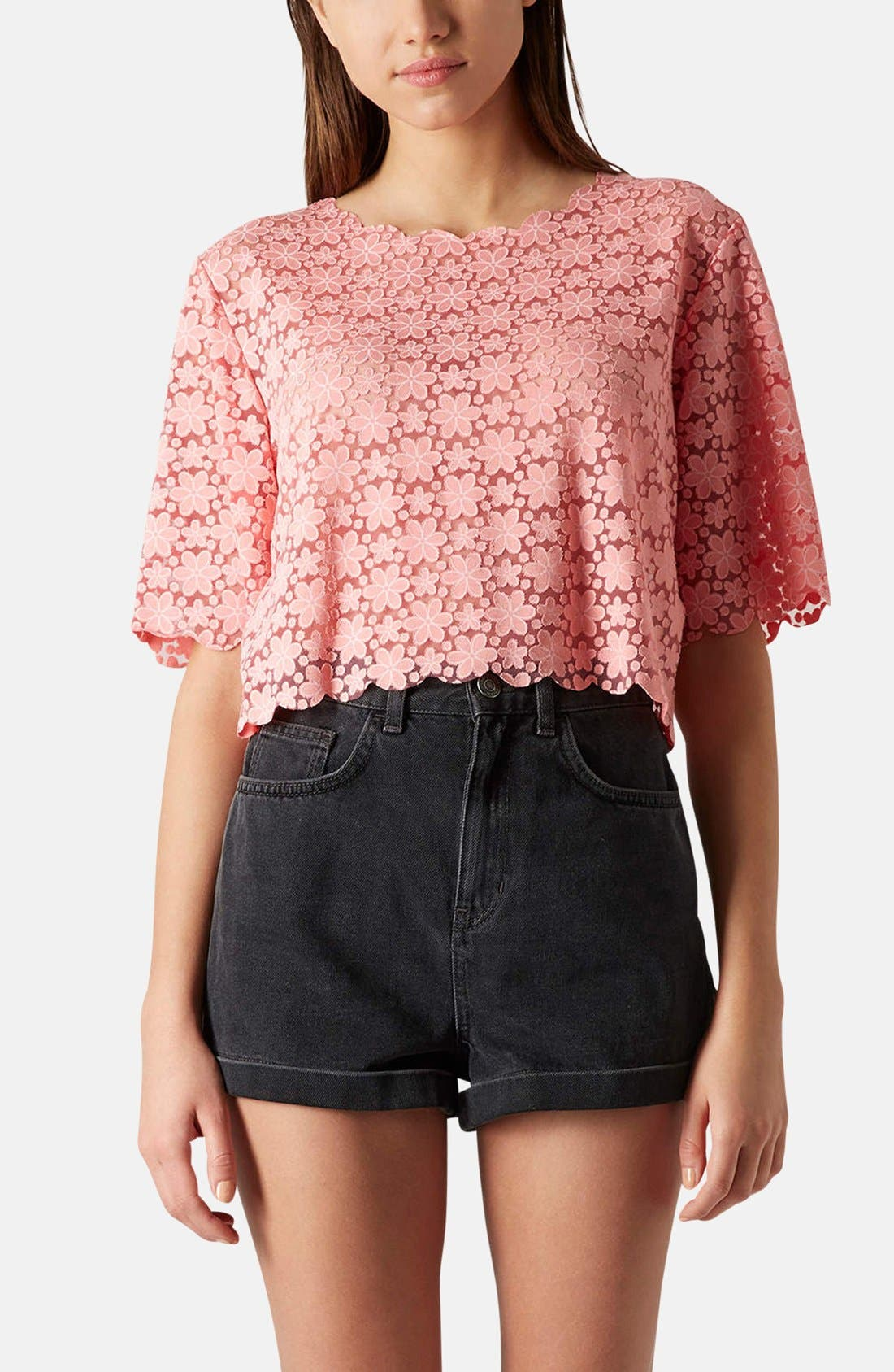 Main Image - Topshop Daisy Burnout Crop Top