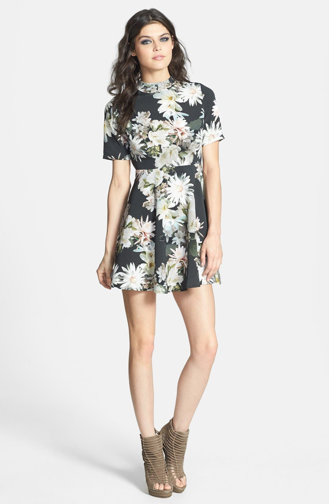 Main Image - Oh My Love Lily Print Open Back Skater Dress