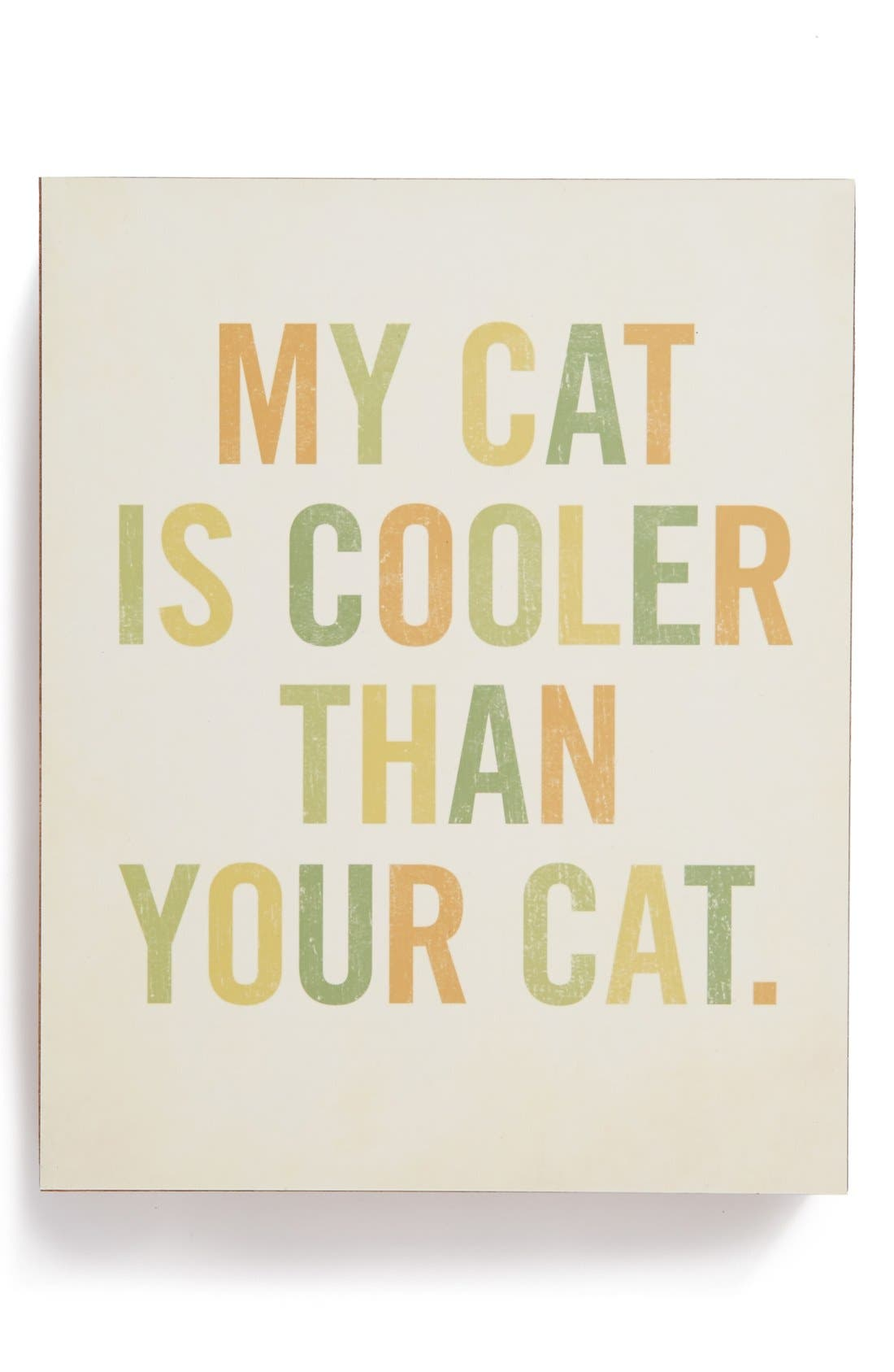 Main Image - Lucius Designs 'My Cat Is Cooler' Wood Block Art