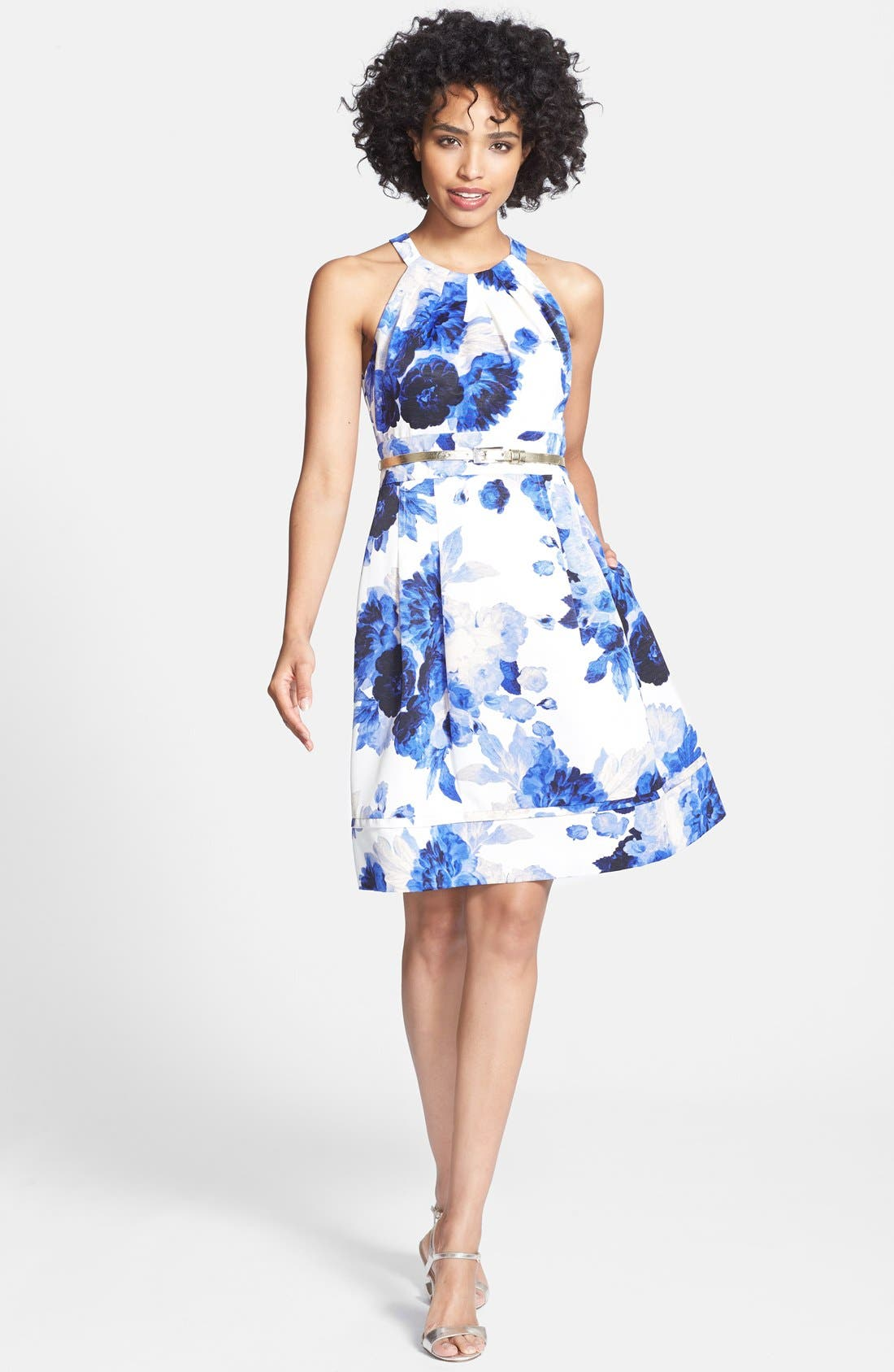 Alternate Image 2  - Eliza J Print Cutaway Bodice Faille Fit & Flare Dress