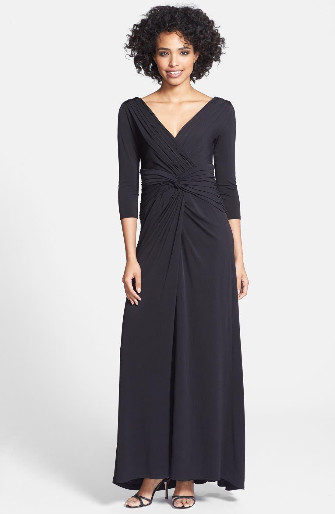Alternate Image 1 Selected - Tadashi Shoji Twist Front Jersey V-Neck Gown