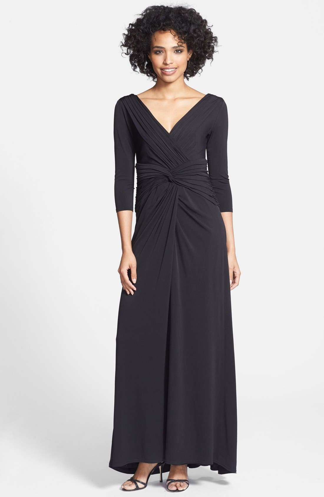 Main Image - Tadashi Shoji Twist Front Jersey V-Neck Gown