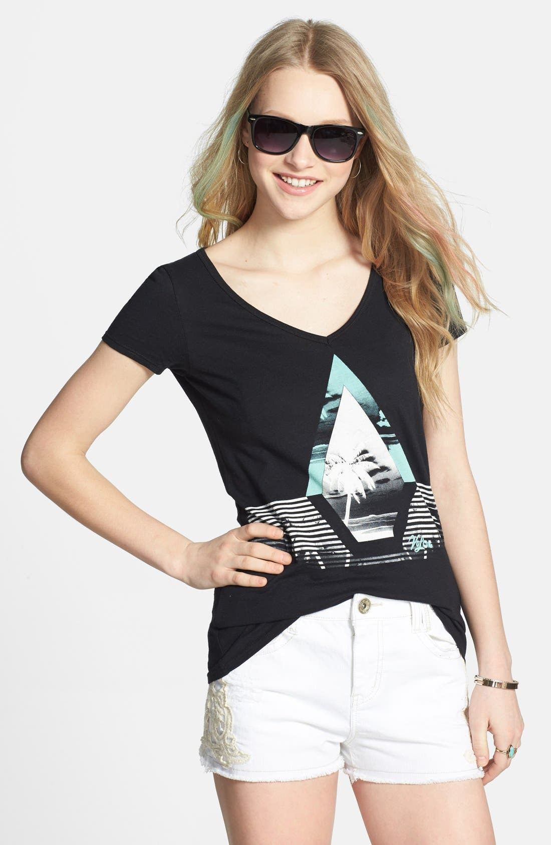 Alternate Image 1 Selected - Volcom 'Flora' V-Neck Graphic Print Tee (Juniors)