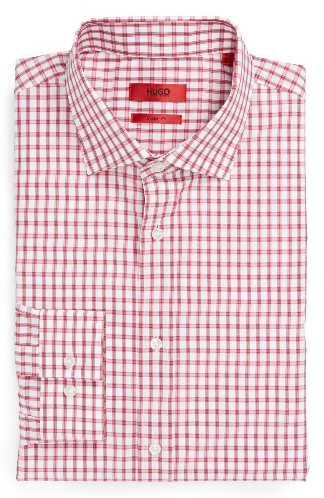Alternate Image 1 Selected - HUGO Modern Fit Check Dress Shirt