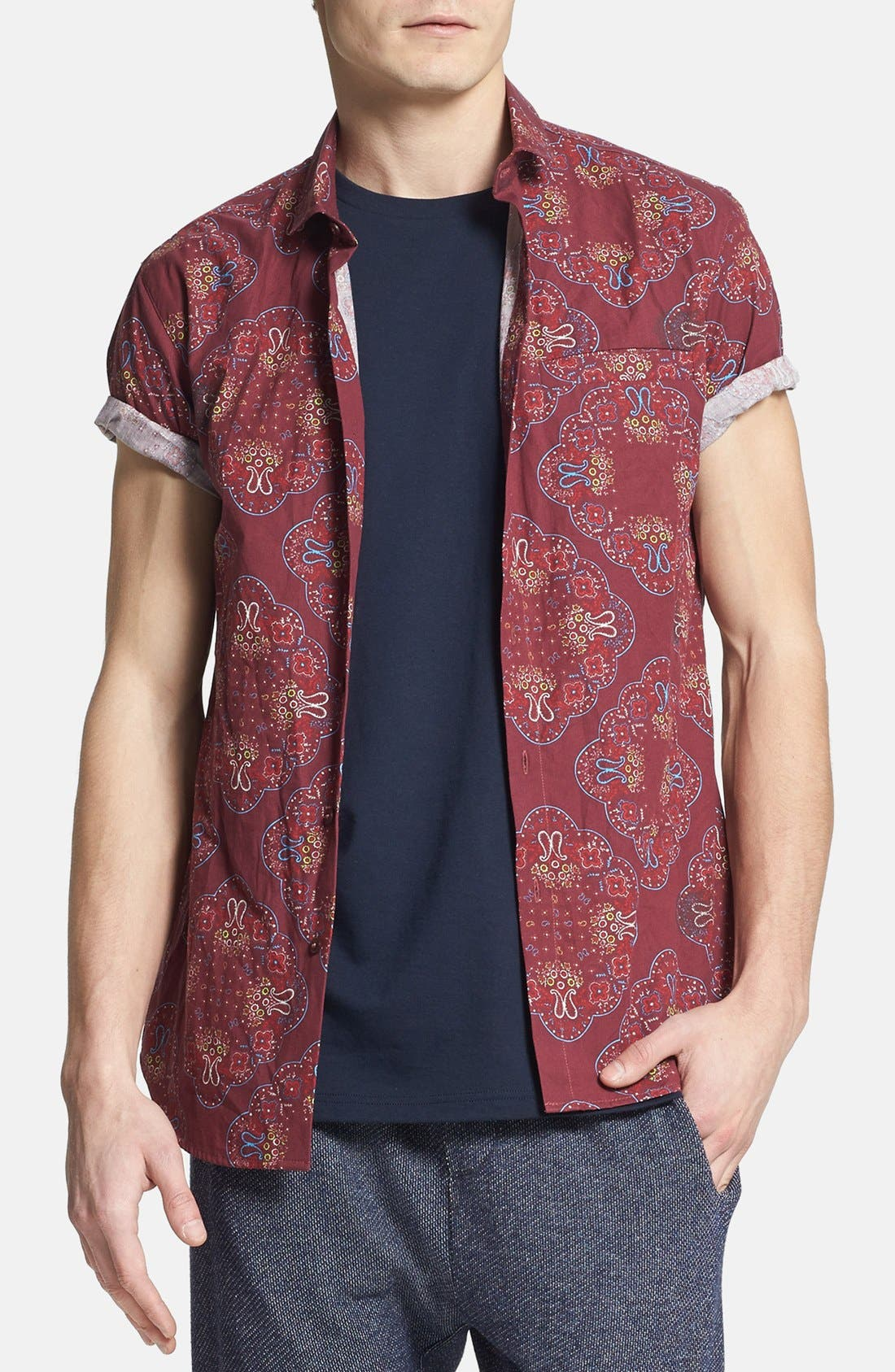 Main Image - Topman Slim Fit Short Sleeve Paisley Print Shirt