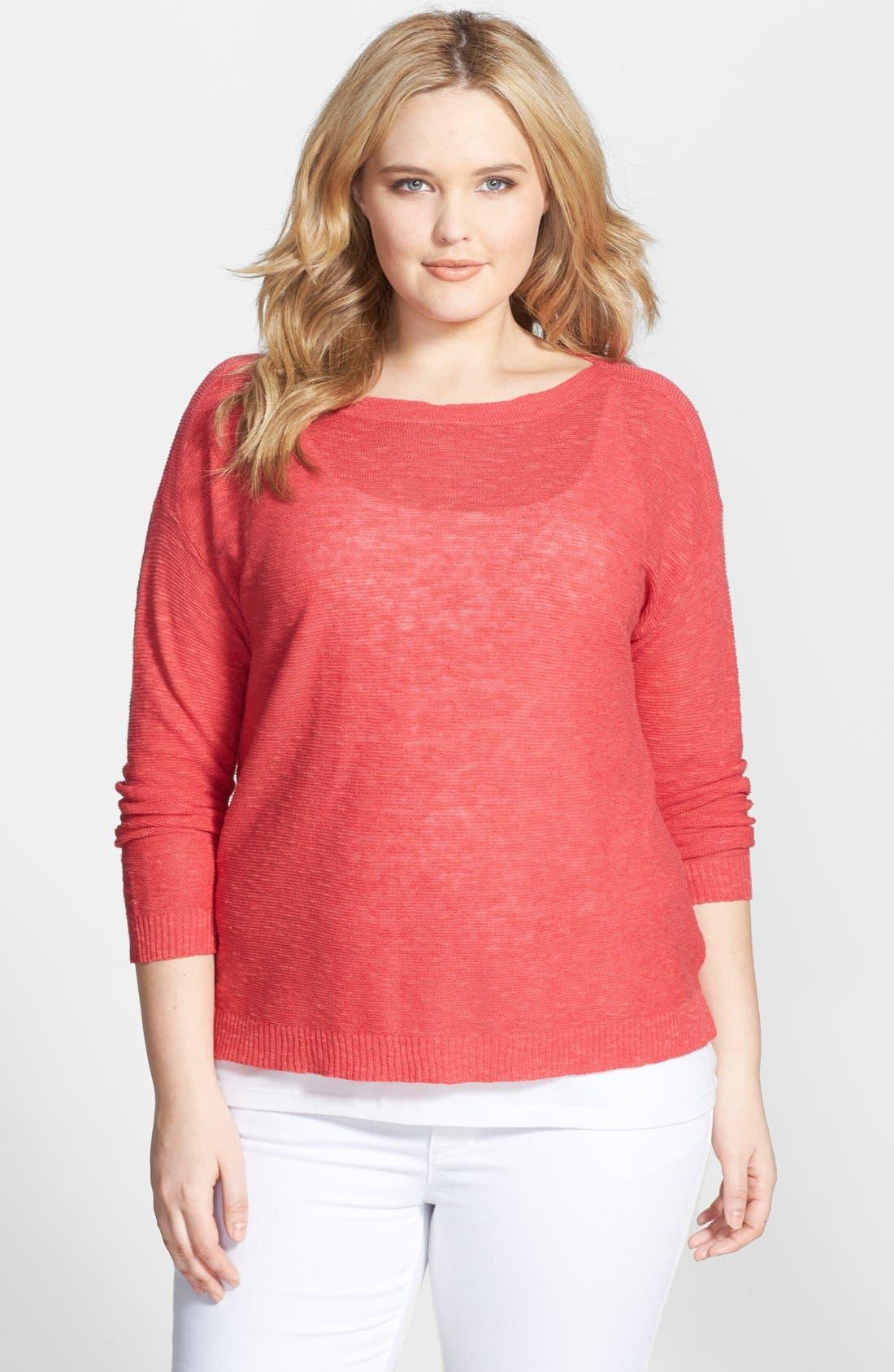 Main Image - Eileen Fisher Organic Linen & Cotton Boat Neck Slub Sweater (Plus Size)